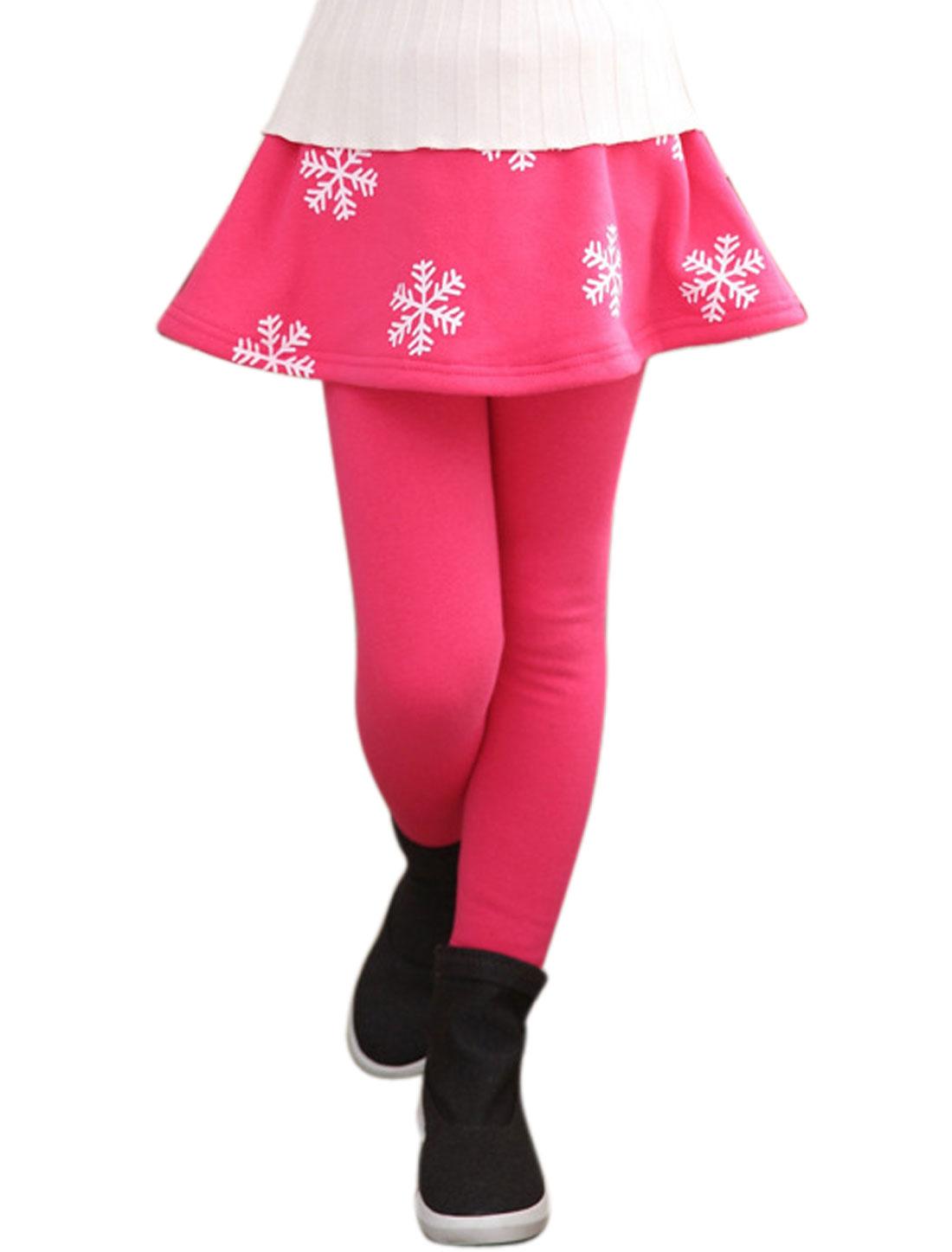 Girls Snowflake Print Elastic Waist Casual Skirt Leggings Pink 7
