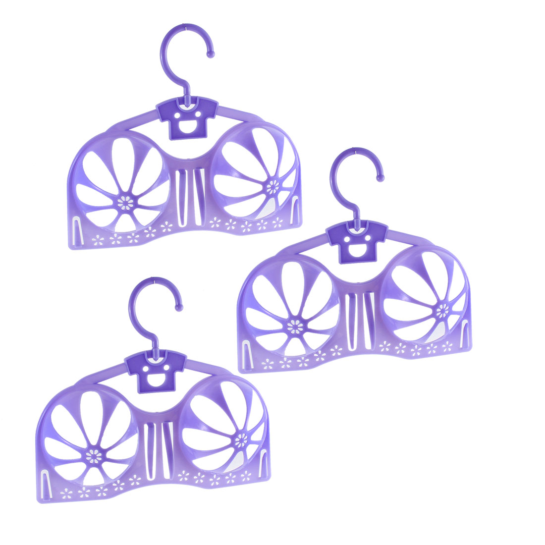 Bra Brassiere Lingerie Laundry Hanger Dryer Holder Rack Storage Support Purple 3pcs