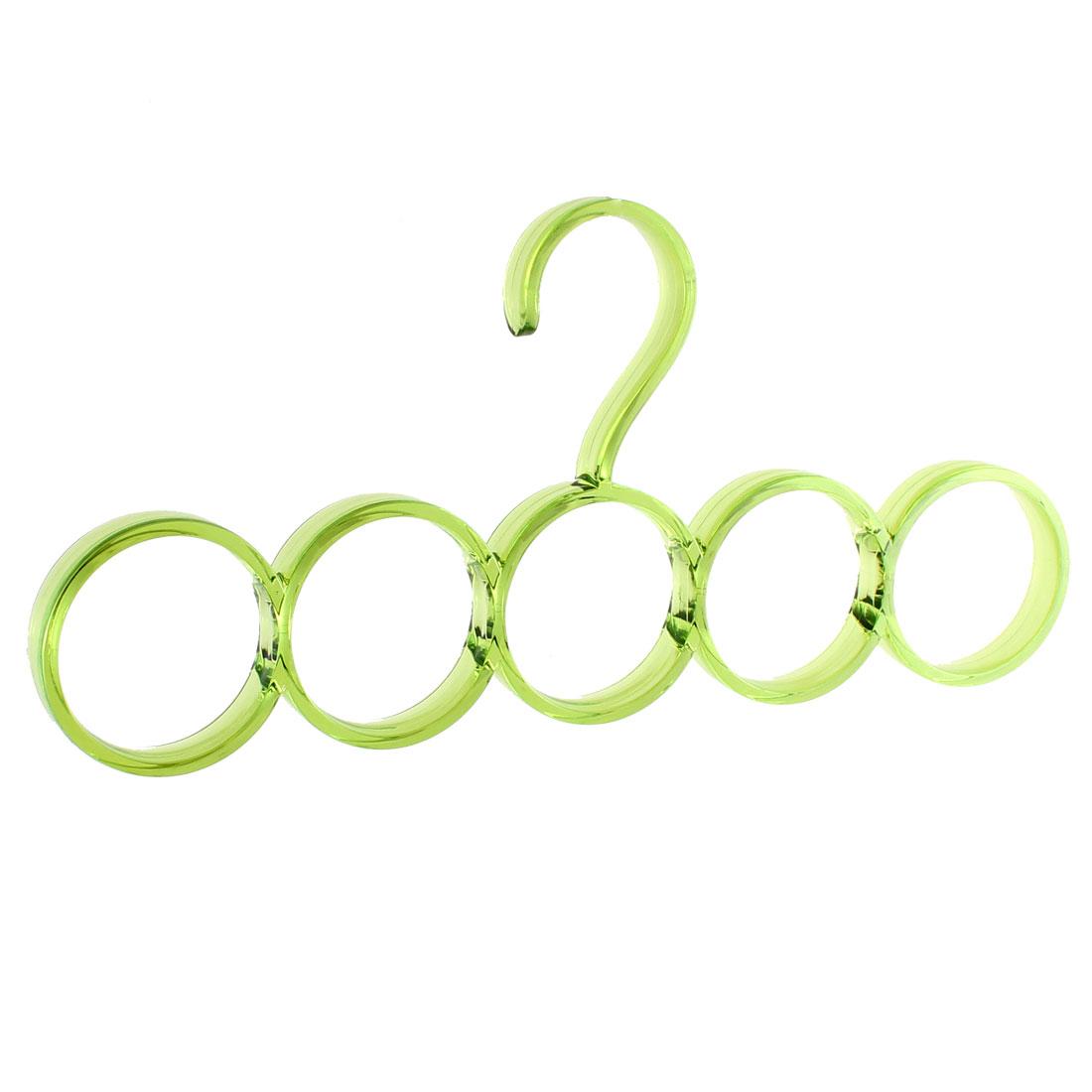 Closet Wardrobe Scarf Belt Necktie Hanging Hook Organizer Hanger 5 Rings Clear Green