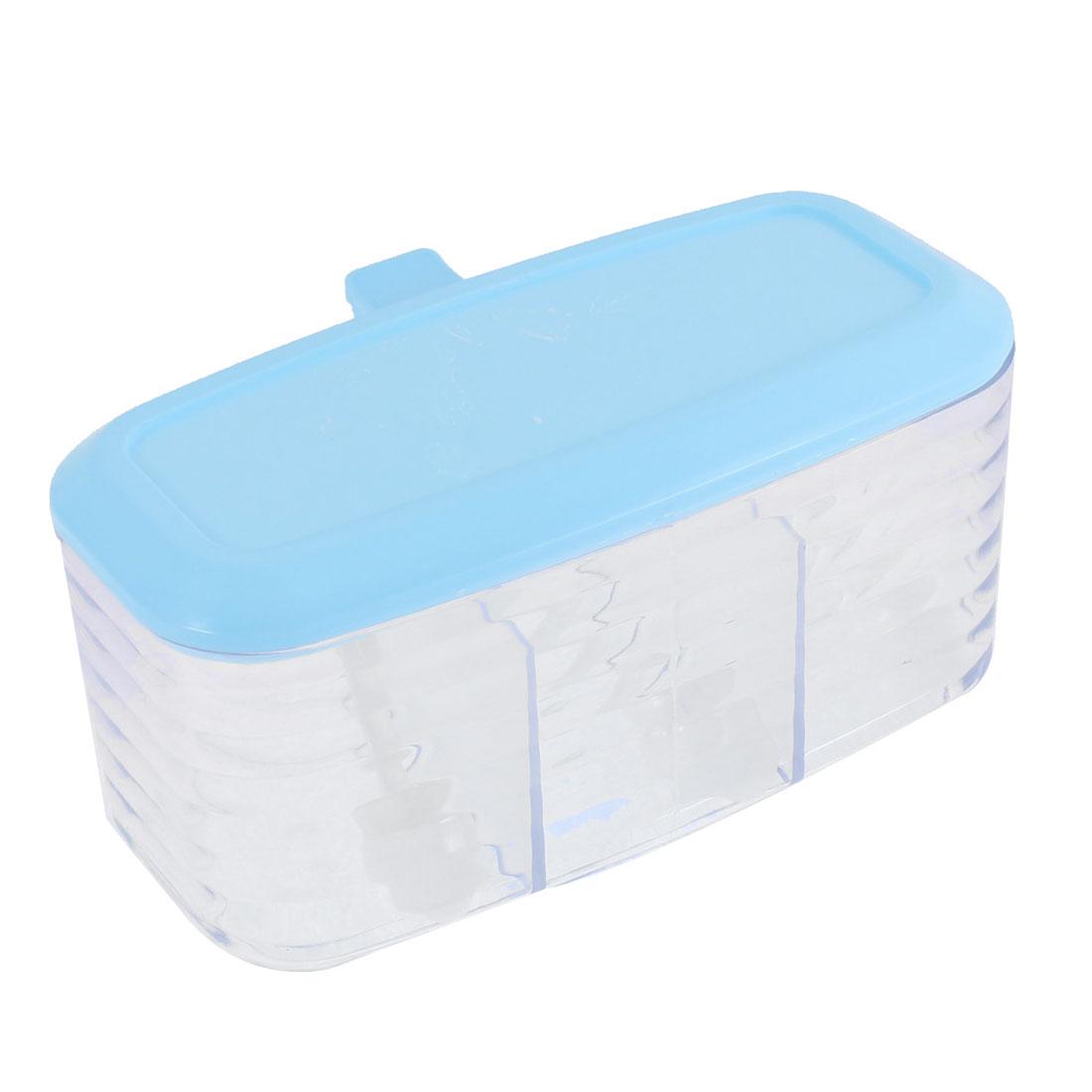 Kitchen 3 Compartments Salt Seasoning Spice Cruet Condiment Container Case Sky Blue