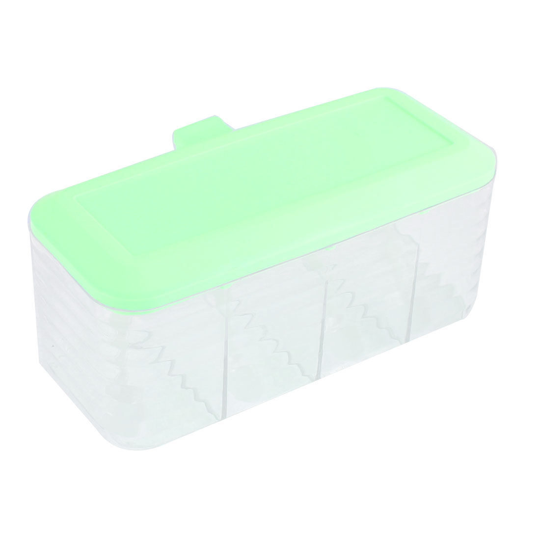 Kitchen Plastic 4 Compartment Salt Condiment Spices Container Case Clear Light Green