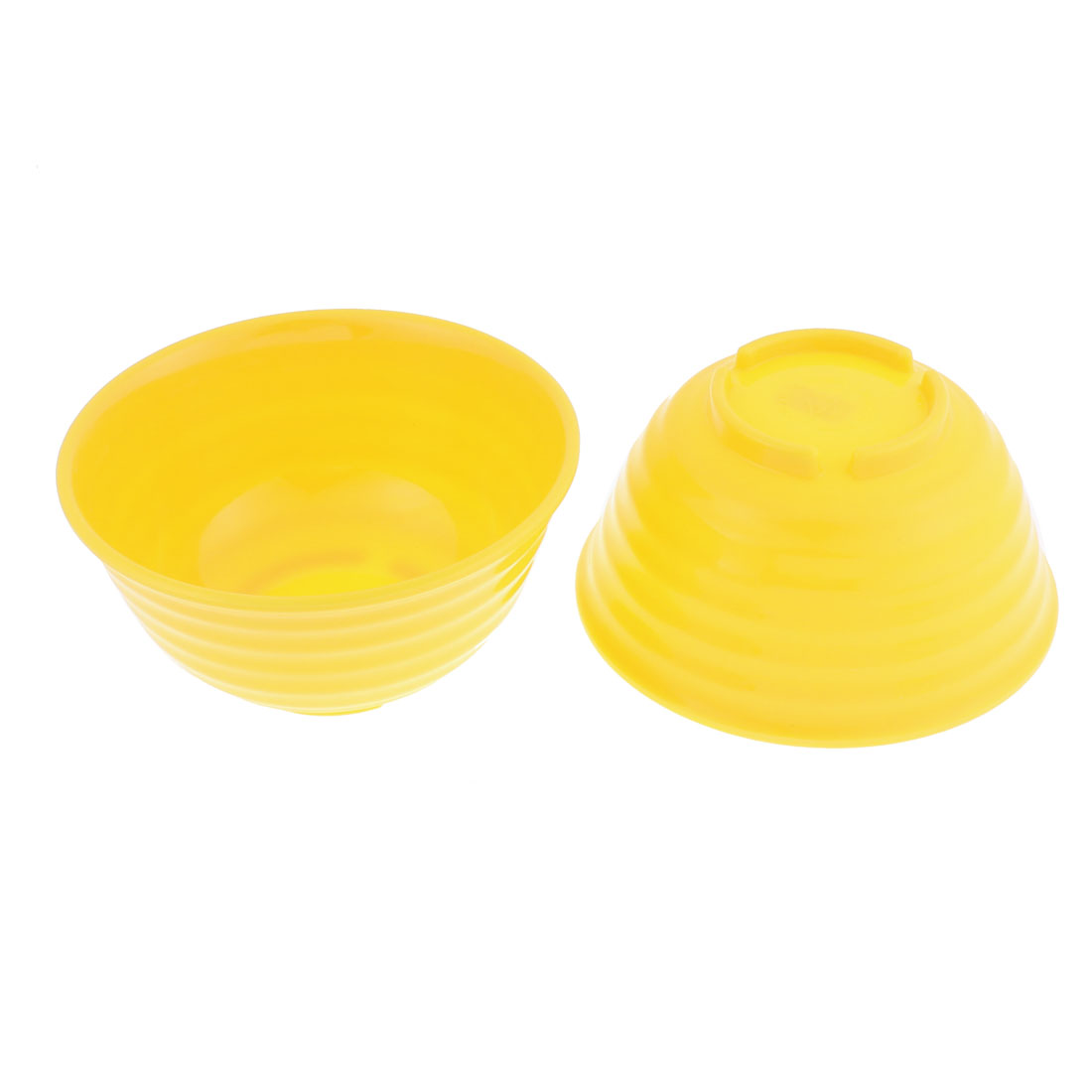 Household Plastic Salad Soup Dinner Rice Bowl Yellow 5.5 Inch Dia 2 Pcs
