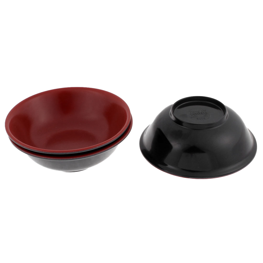 "Home Restaurant Plastic Lunch Dinner Fruit Rice Bowl Container Black Red 6"" Dia 3pcs"