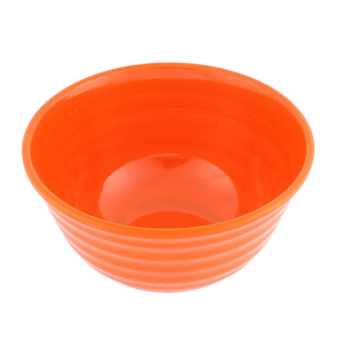 Family Tableware Plastic Round Shaped Food Rice Bowl Orange 15.5cm Dia