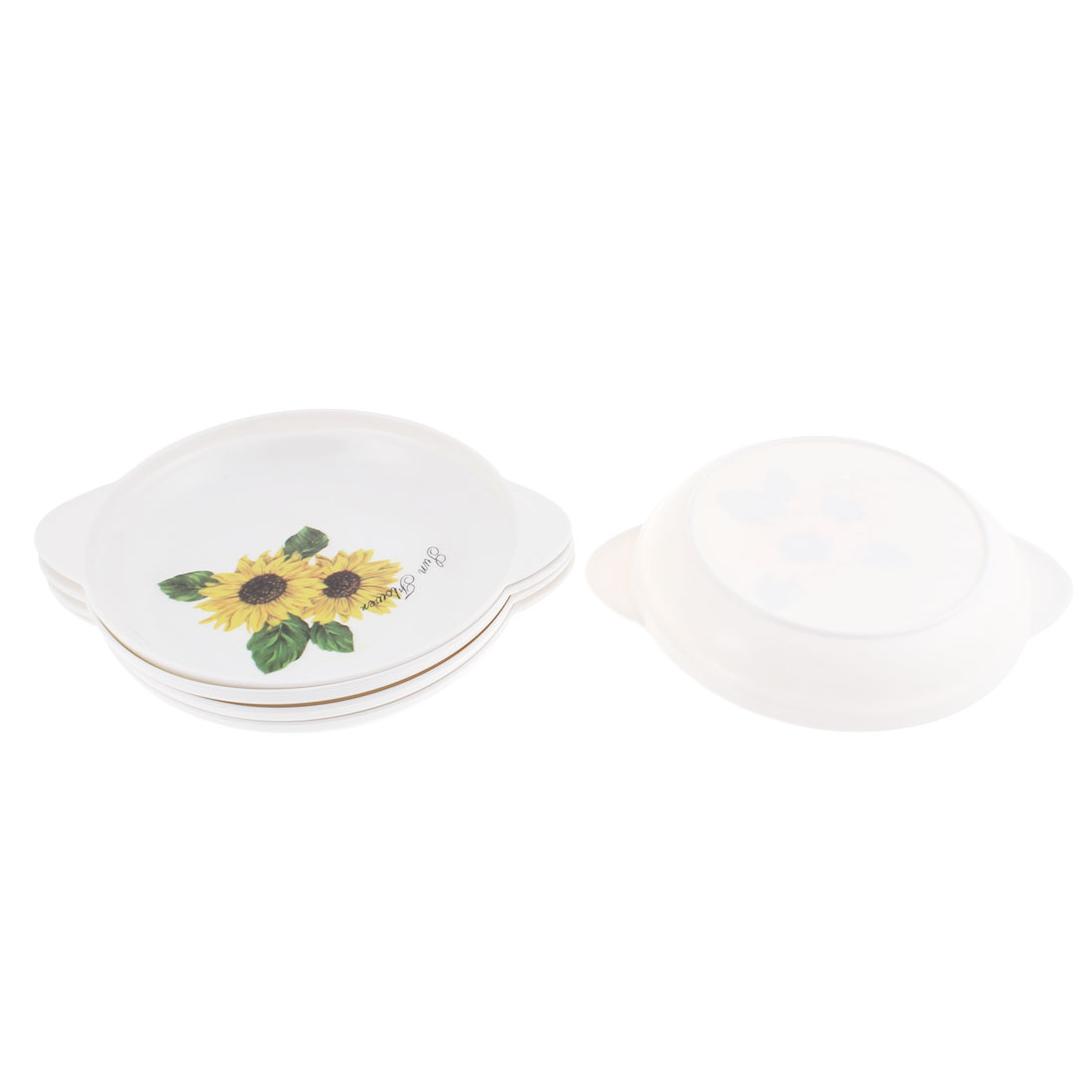 Home Floral Pattern Round Shaped Food Dinner Meat Plate Dish Container White 5pcs