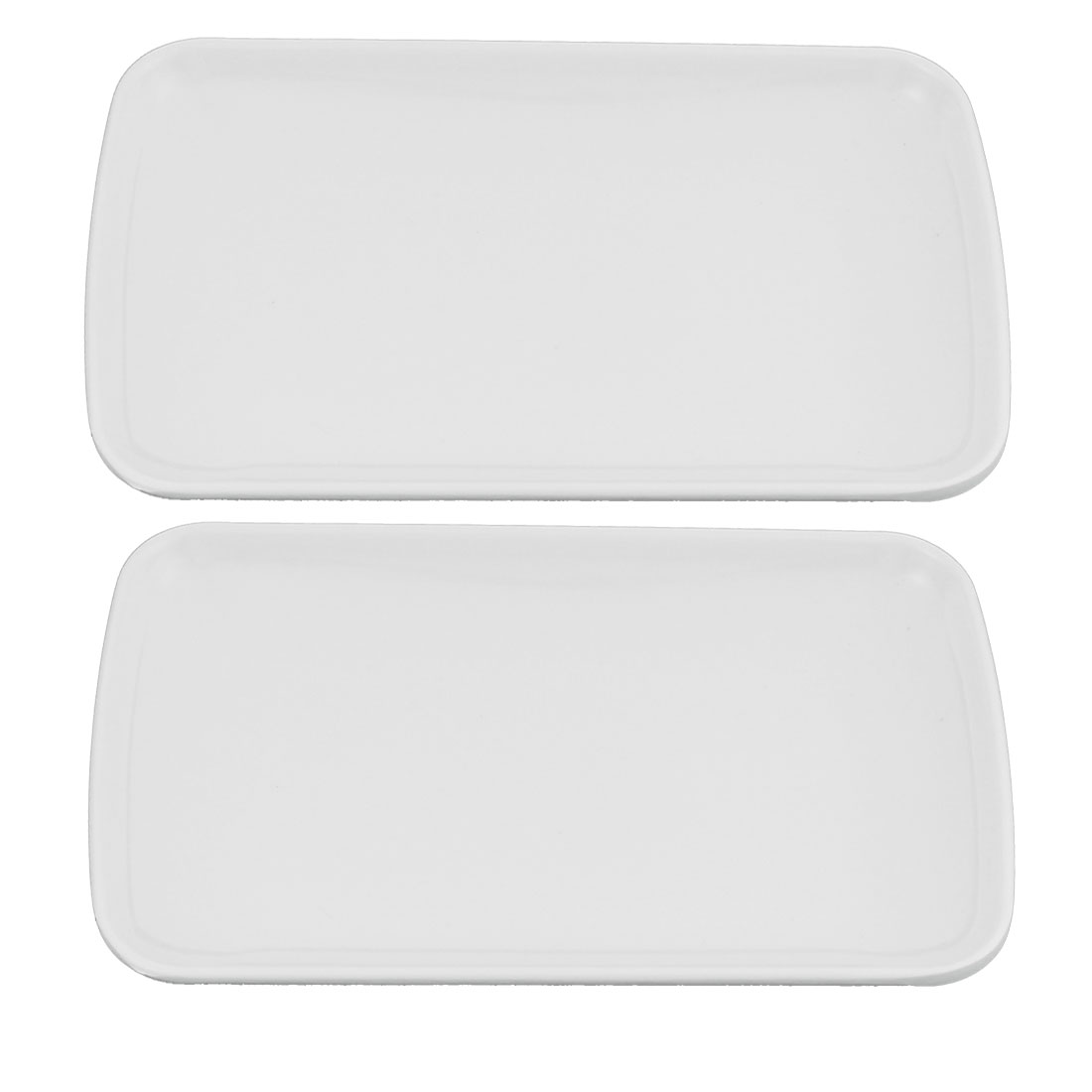 Home Restaurant Plastic Rectangle Shaped Lunch Food Dish Plate White 19cmx12cm 2 Pcs