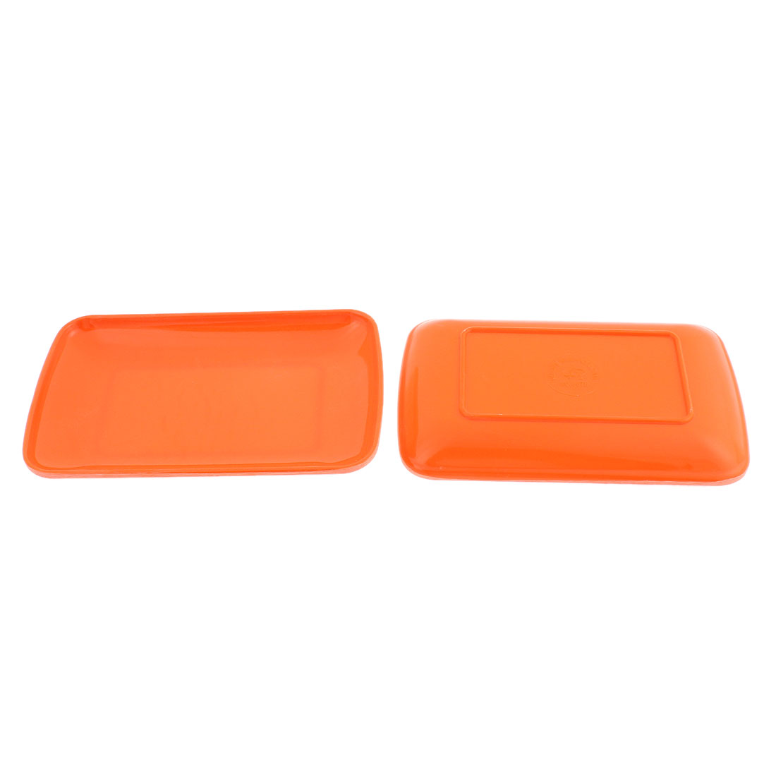 Home Kitchen Rectangle Shaped Lunch Food Dinner Dish Plate Container 19cmx12cm 2 Pcs