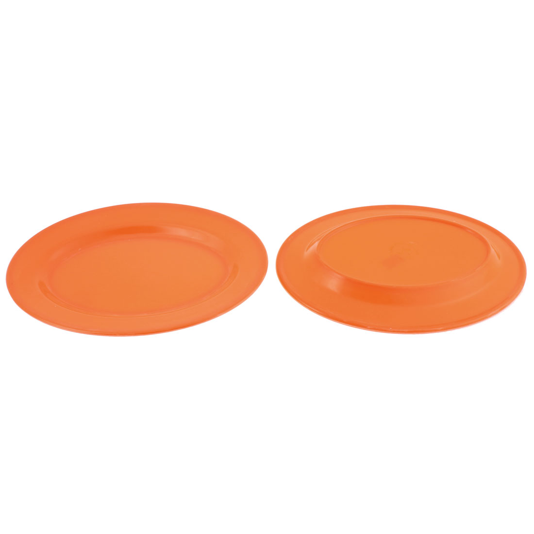 Kitchen Restaurant Plastic Oval Shaped Food Dish Plate Tray Orange 2pcs
