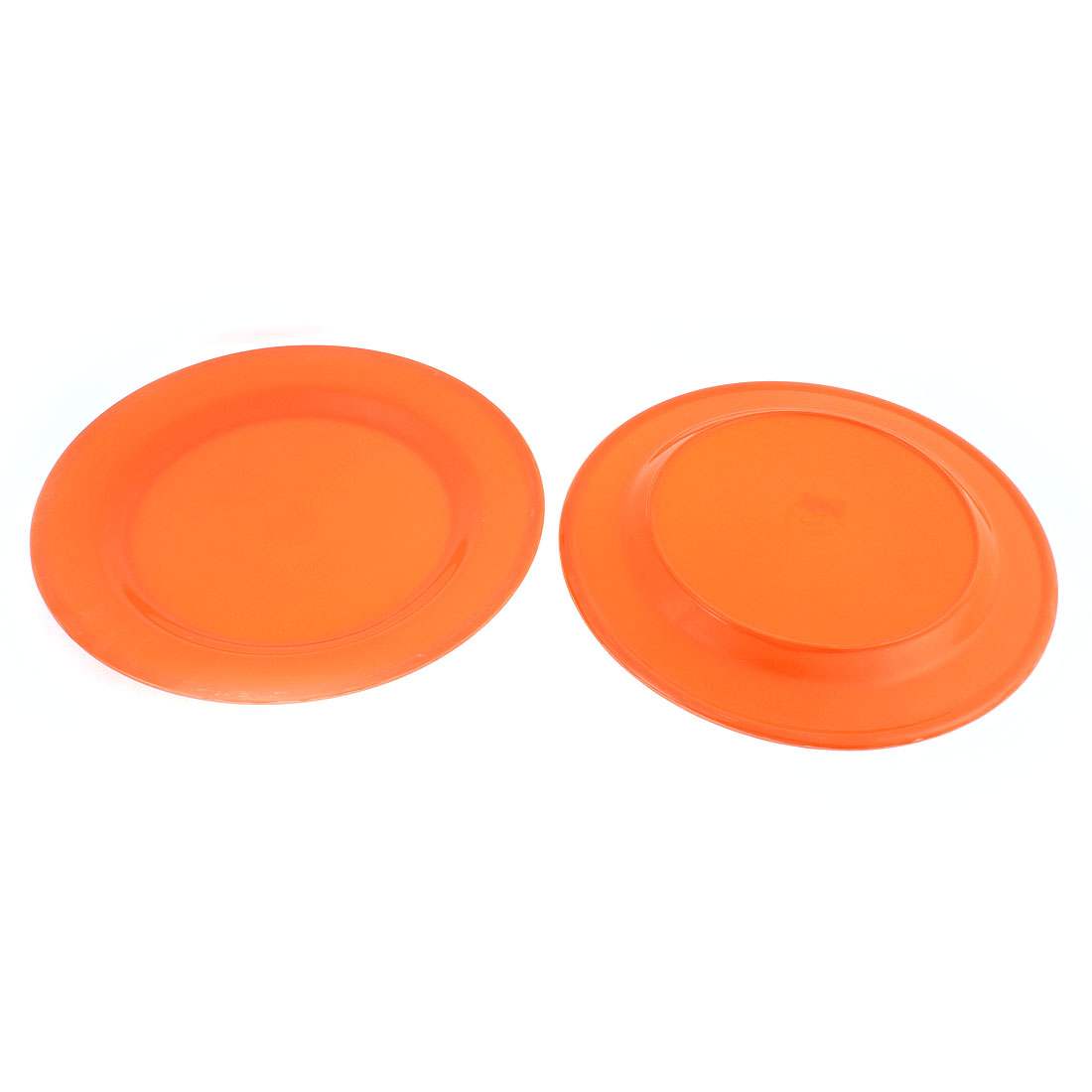 Kitchen Restaurant Plastic Round Shaped Food Dish Dessert Plate Tray Orange 2pcs