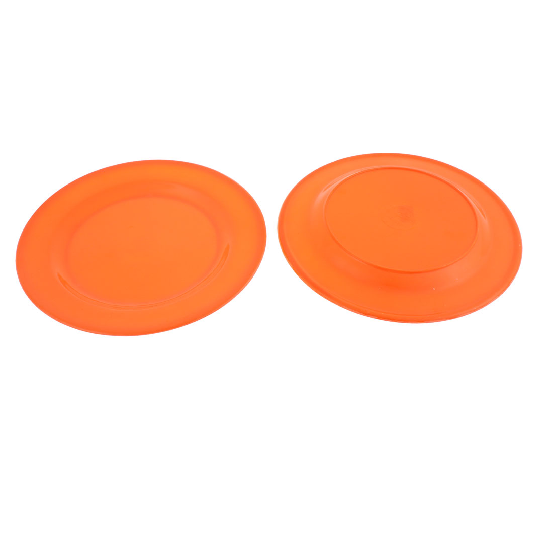 Kitchen Restaurant Round Shaped Lunch Food Dish Plate Orange 20cm Dia 2pcs