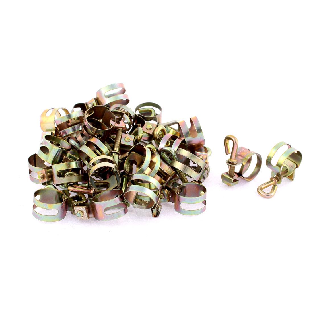 Adjustable 13-16mm Range Fuel Line Drive Worm Gear Hose Clamp Clip 40pcs