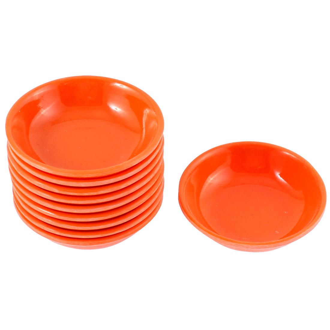 Kitchen Sushi Soy Sauce Wasabi Dipping Dishes Plate Bowl Orange 10 Pcs