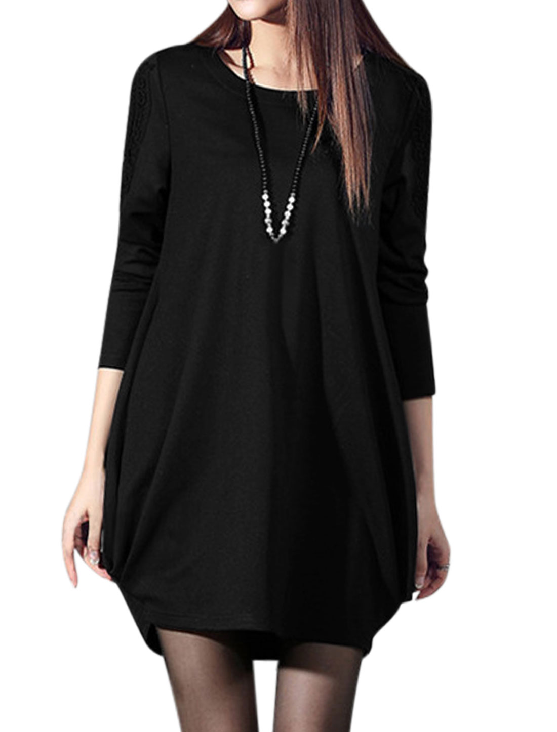 Women Long Sleeves Crochet Panel Ruched Detail Casual Tunic Dress Black XS