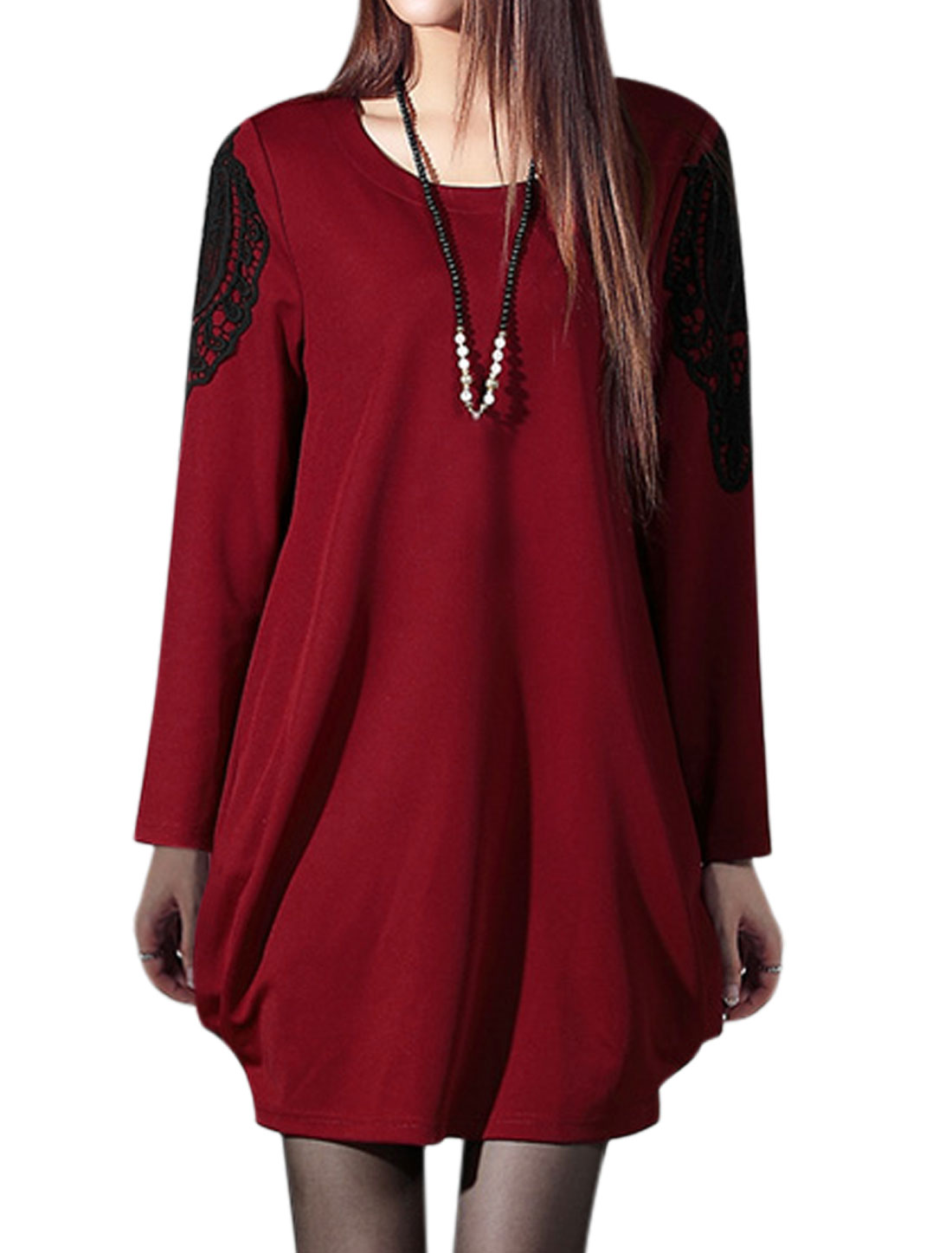 Ladies Round Neck Long Sleeves Crochet Panel Loose Fit Shift Dress Red XS