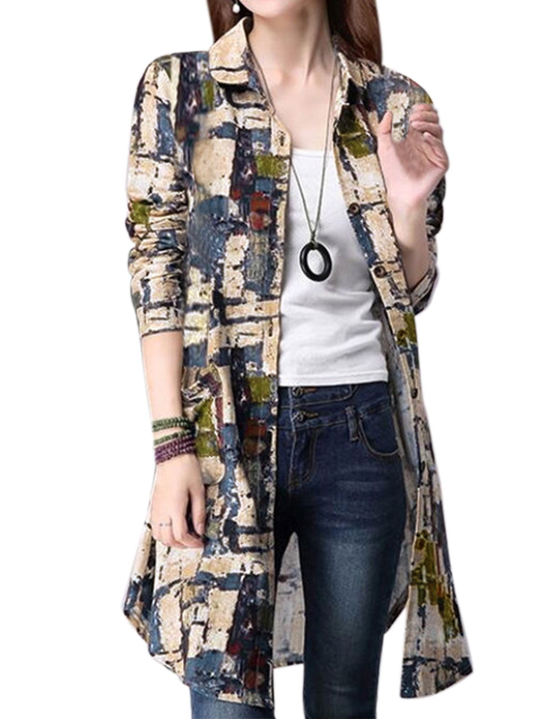Women Long Sleeves Novelty Print Two Pockets Front Tunic Shirt Multi-Color S