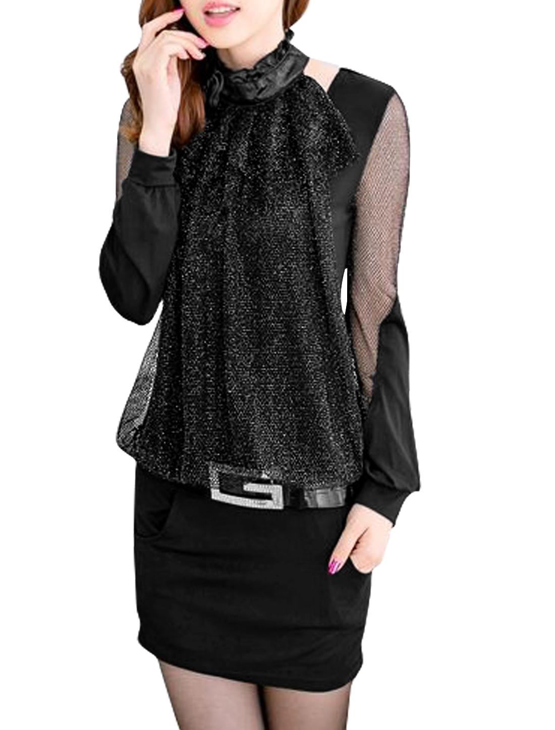 Lady Ruffled Collar Mesh Panel Brooch Pencil Dress w Belt Silver S