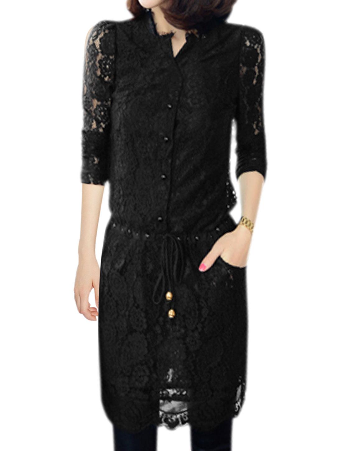 Women Long Sleeves Drawstring Waist See Through Lace Dress Black S