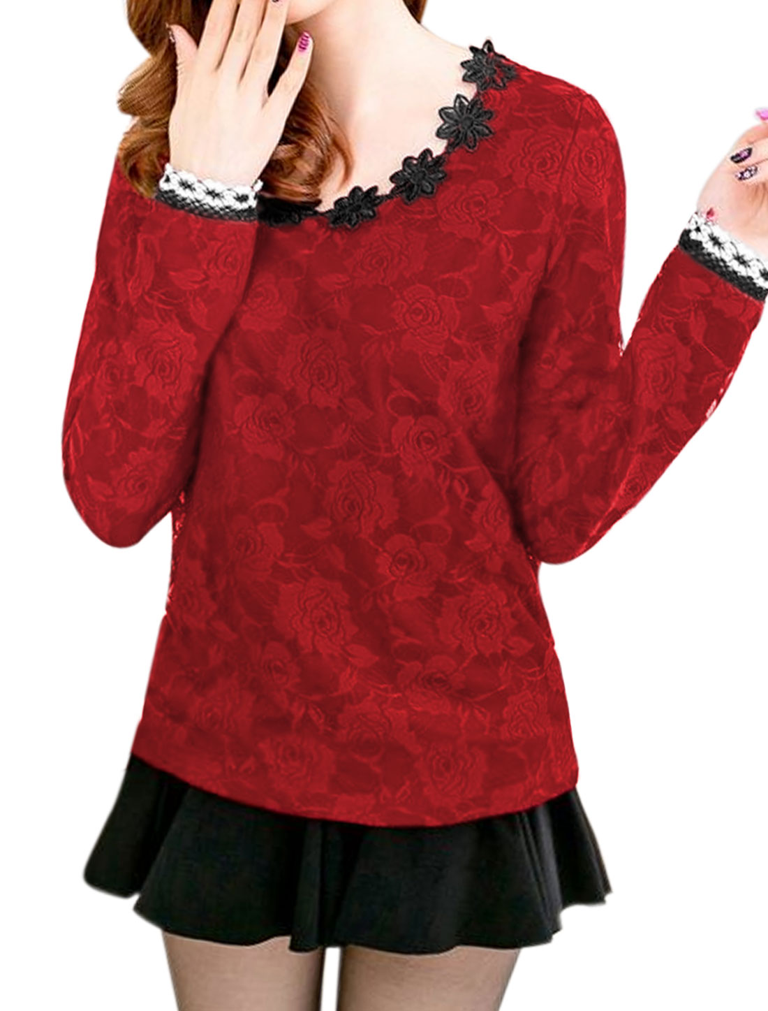 Women Round Neck Long Sleeves Crochet Panel Slim Fit Lace Shirt Red M