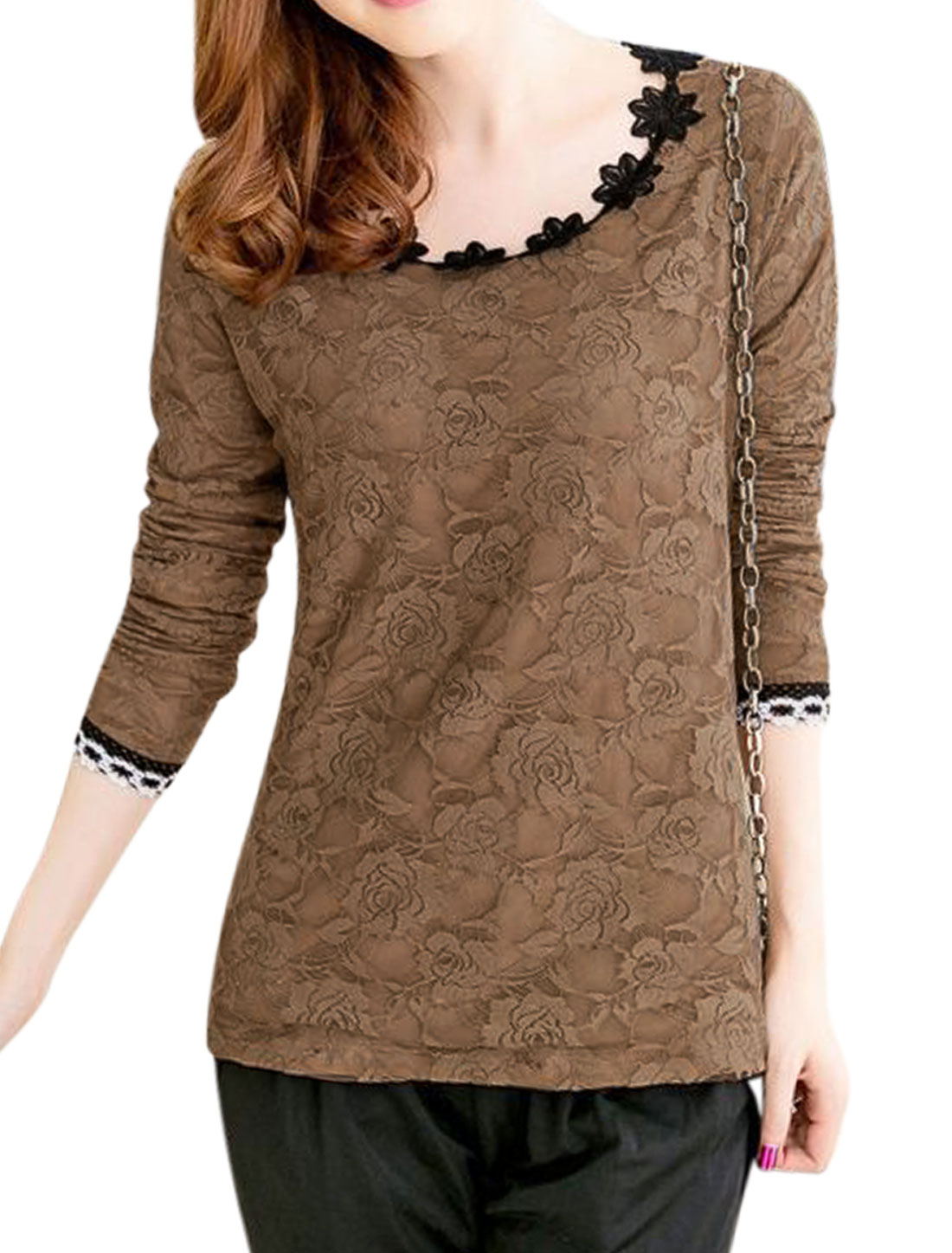 Ladies Long Sleeves Floral Crochet Panel Soft Lining Lace Tee Brown M