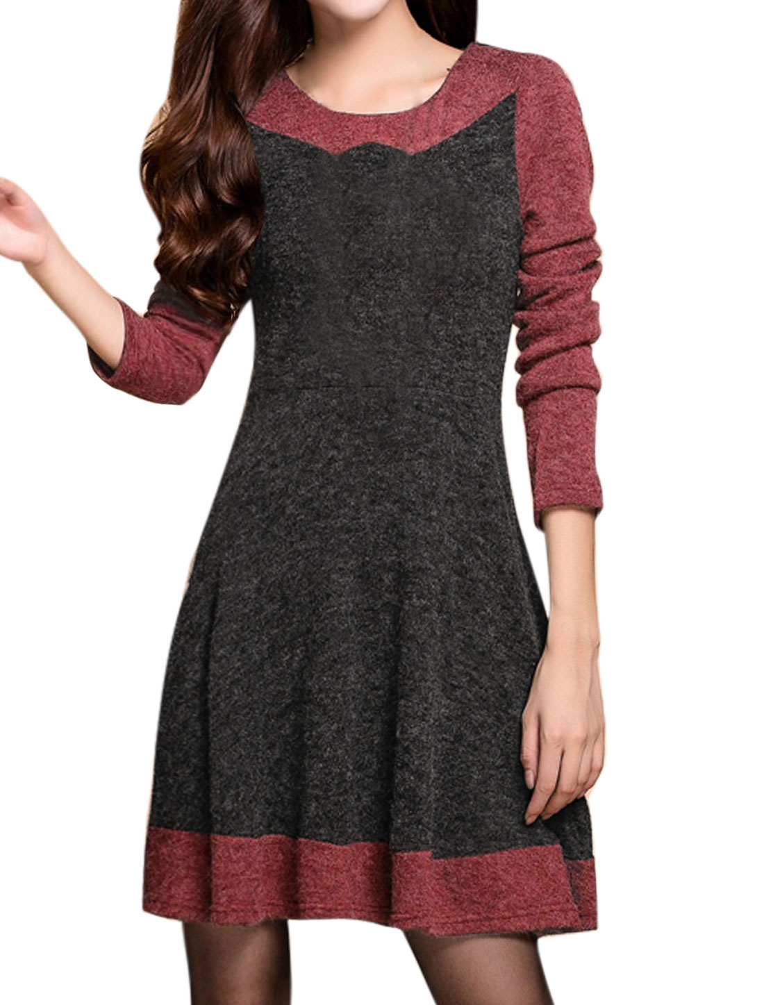 Women Round Neck Long Sleeves Color Block Knitted A Line Dress Gray Red S