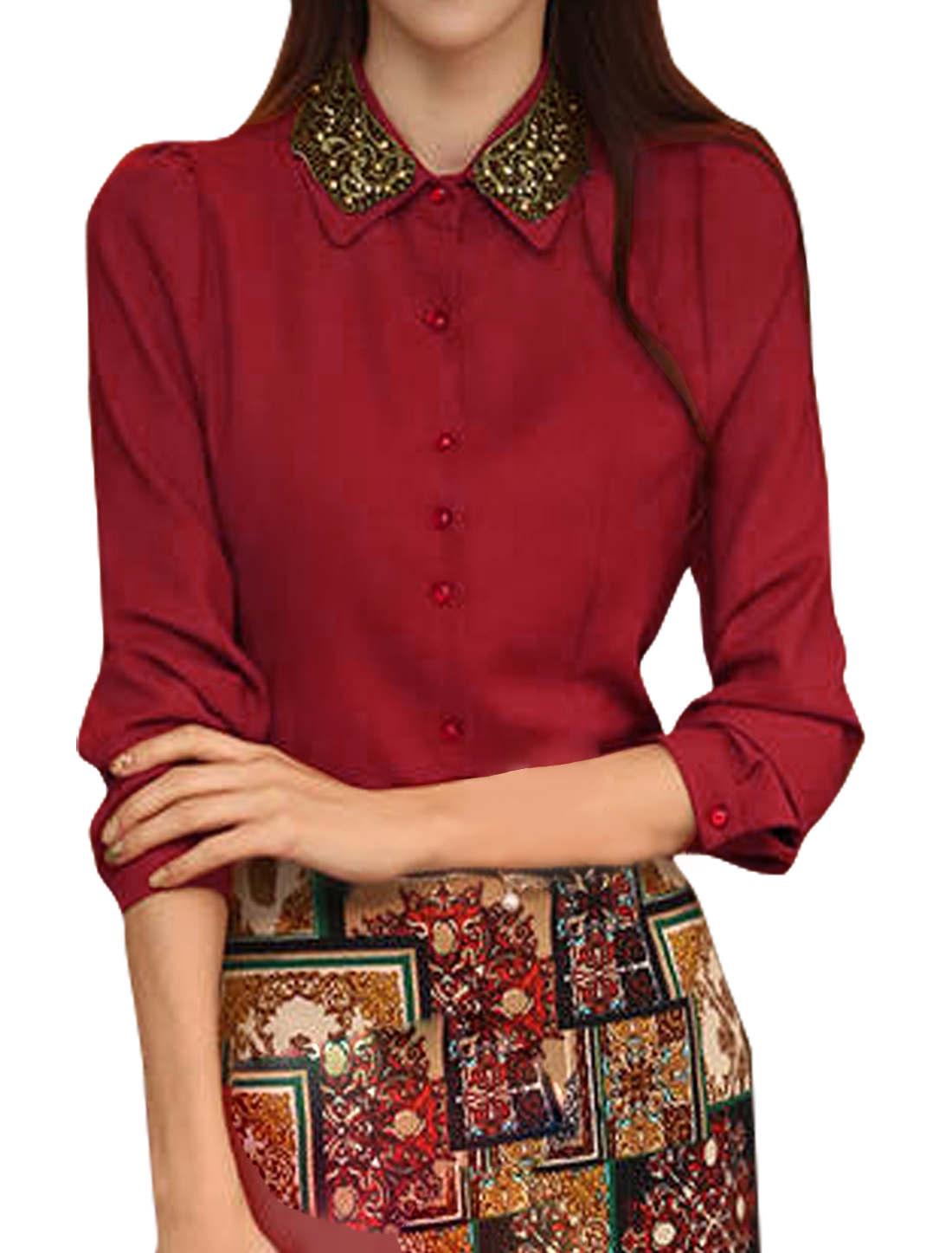 Women Beads Embellished Point Collar Button Down Shirt Red M