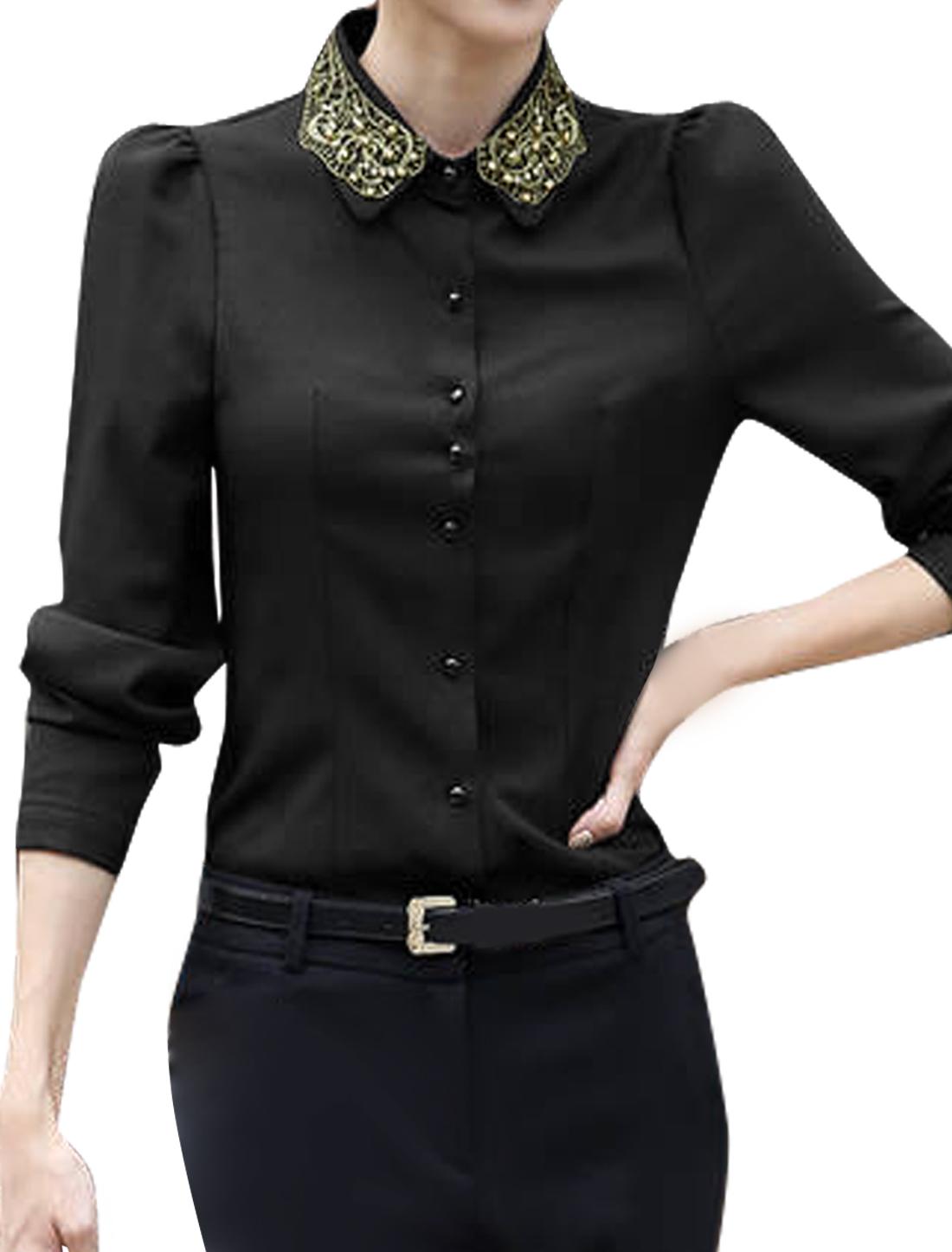 Lady Point Collar Long Sleeves Round Hem Slim Fit Shirt Black M