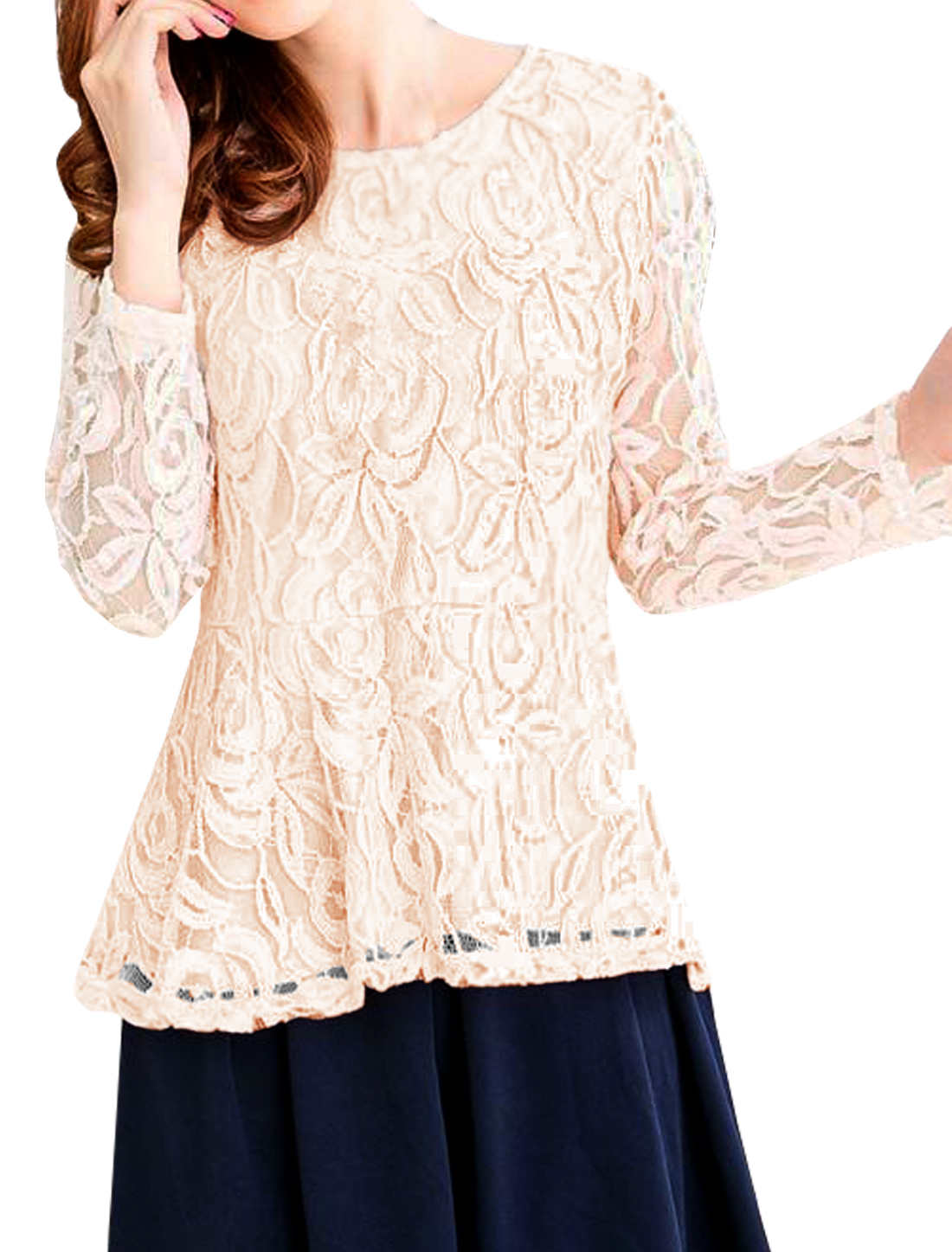 Women Round Neck Long Sleeves Lace Peplum Top Pink S