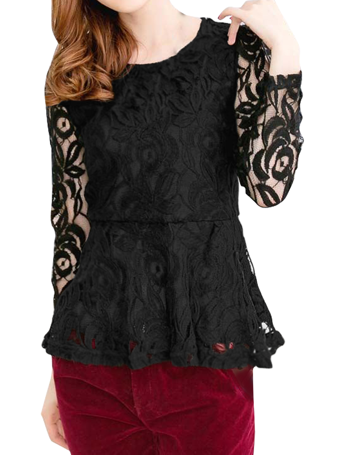 Ladies Round Neck Long Sleeves Slim Fit Casual Lace Top Black S