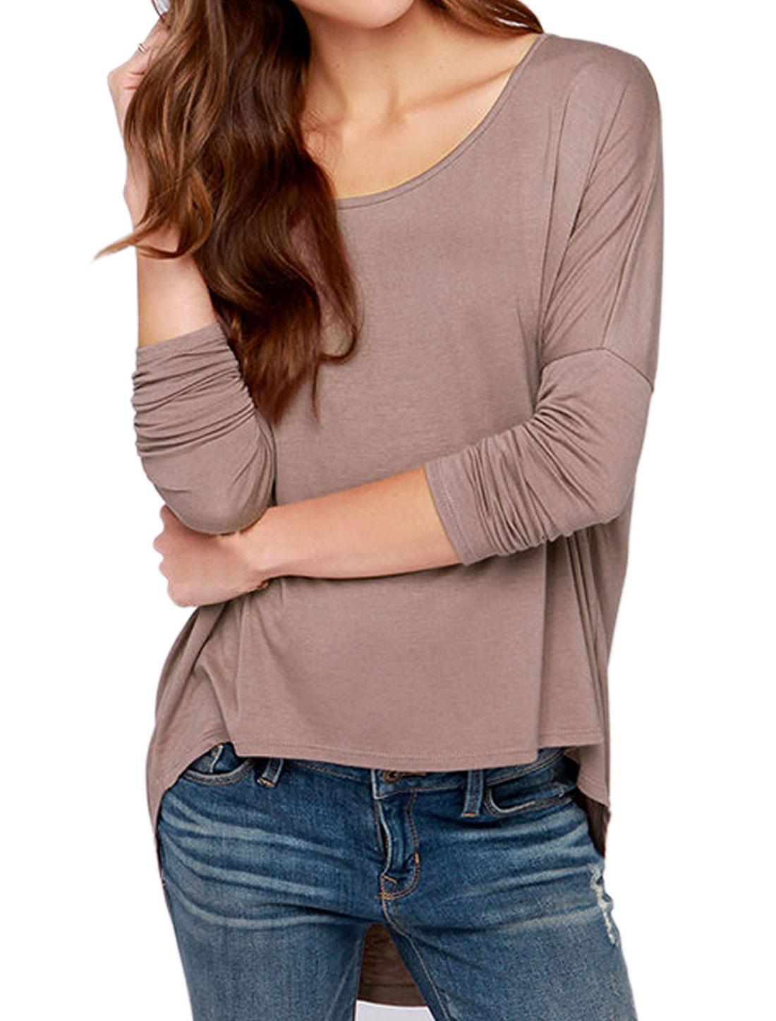Ladies Dolman Sleeves Loose Fit High Low Hem Leisure Top Brown S