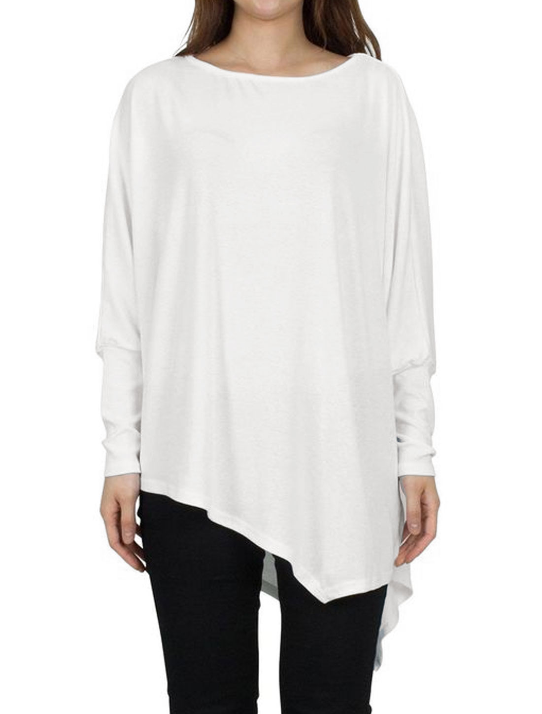 Women Round Neck Long Batwing Sleeves Loose Fit Asymmetric Hem Tunic Top White M
