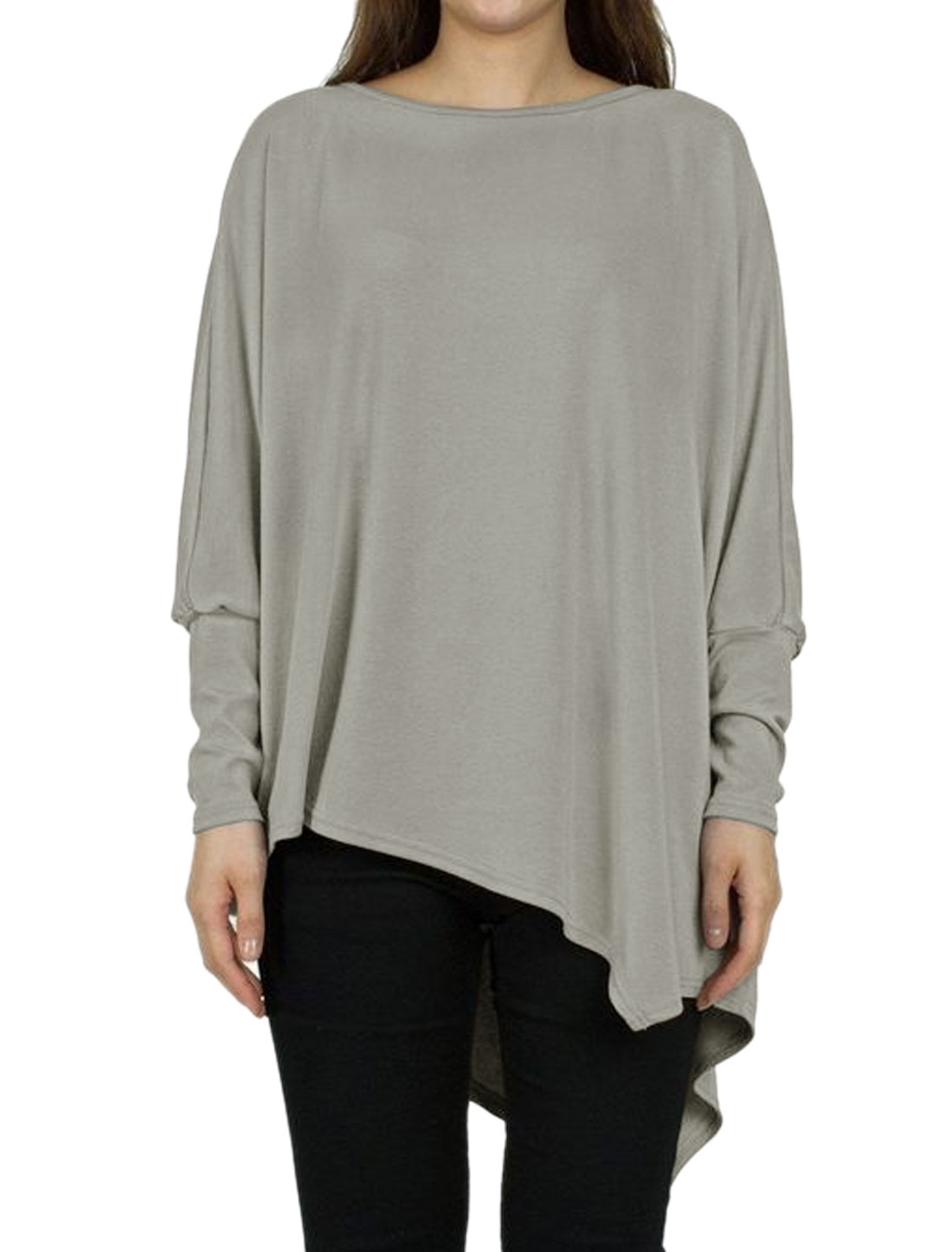 Women Loose Fit Irregular Hem Batwing Sleeves Casual Longline Tee Gray M