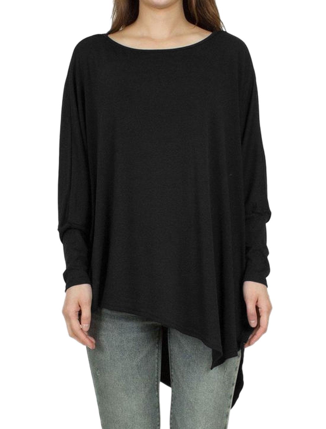 Lady Long Dolman Sleeves Round Neck Asymmetric Hem Tunic T-Shirt Black M