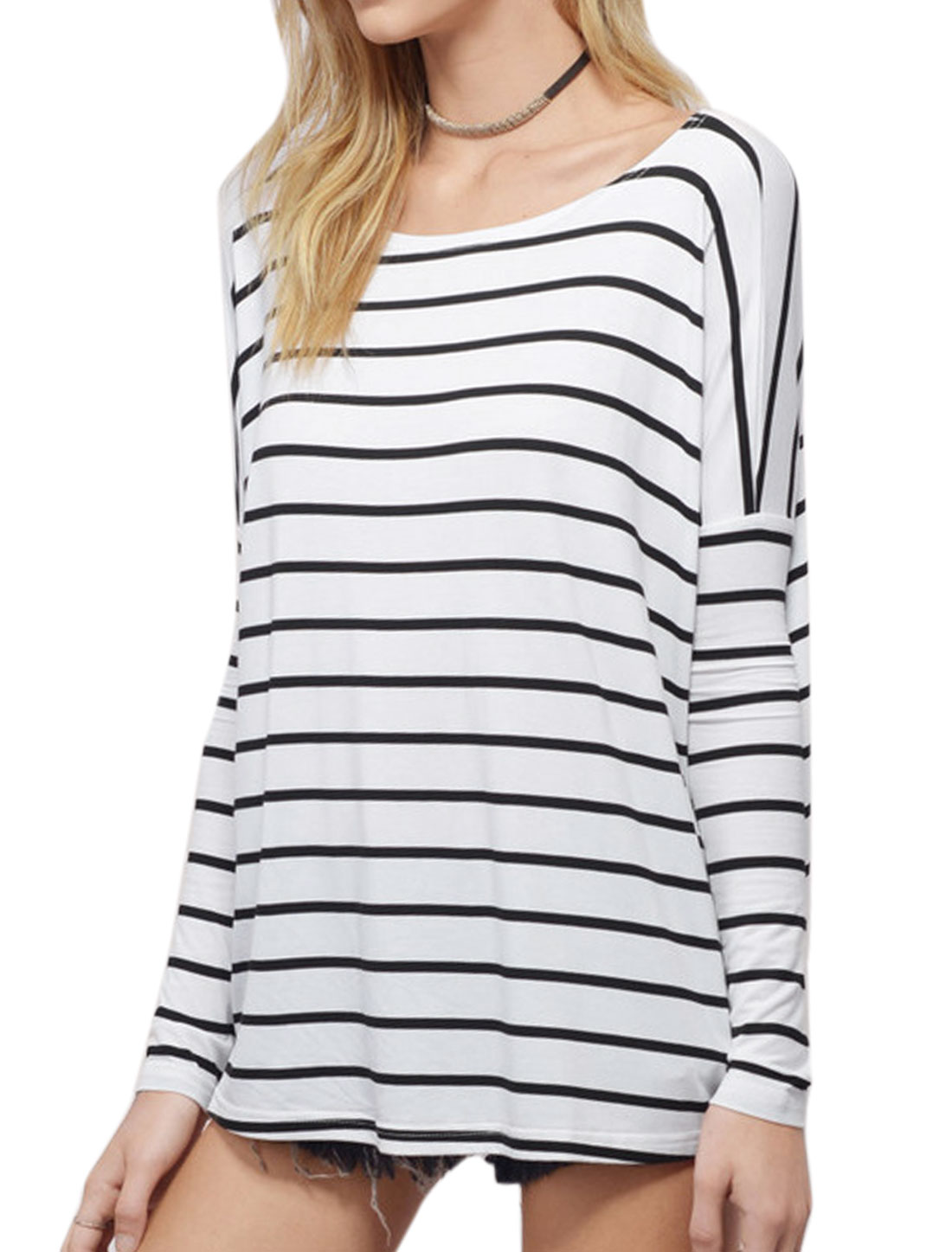 Lady Round Neck Long Dolman Sleeves Stripes Tunic T-Shirt White M