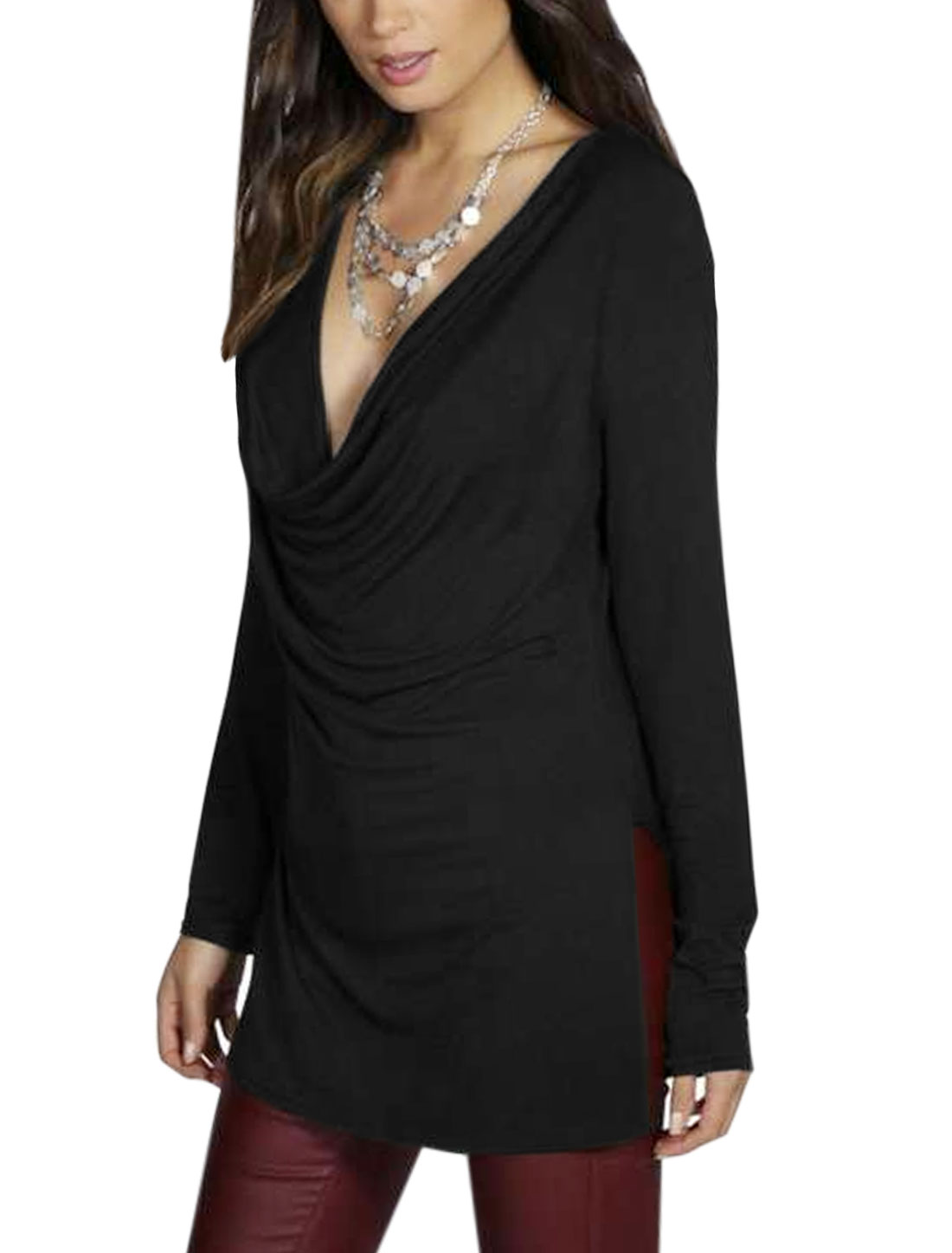 Women Cowl Neck Split Sides Casual Tunic T-Shirt Black M