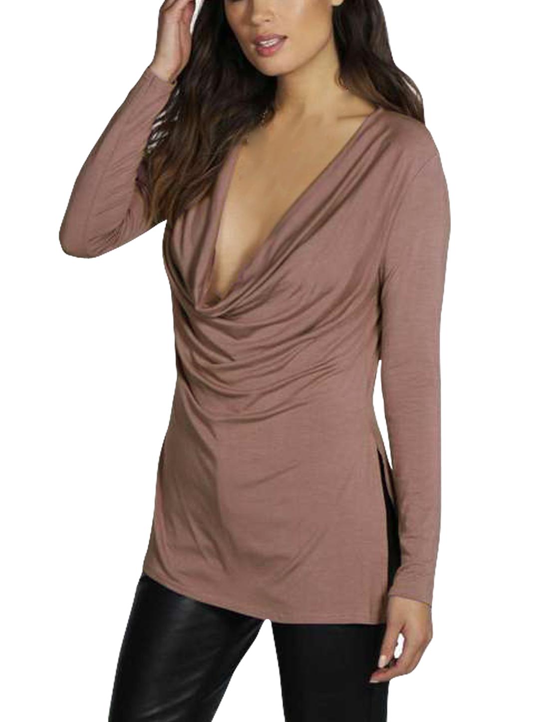 Ladies Cowl Neck Split Sides Design Tunic Long Sleeves Top Pink M
