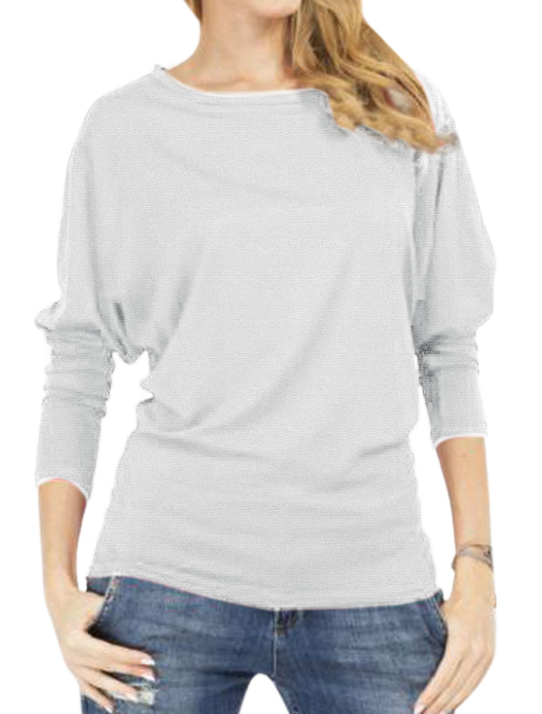 Women Round Neck Long Sleeves Casual Tee Shirt Gray S