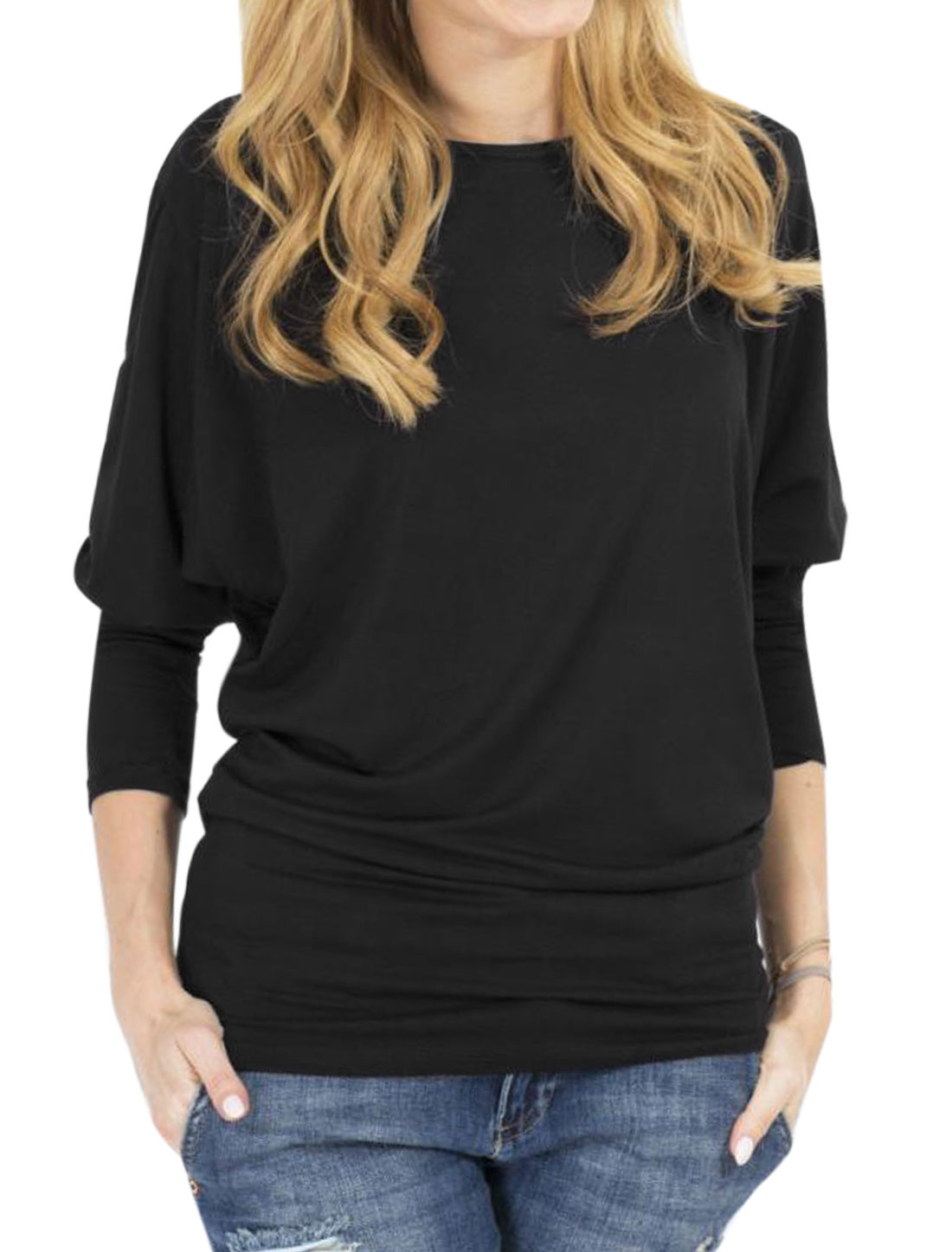 Lady Round Neck Dolman Sleeves Loose Fit T-Shirt Black M