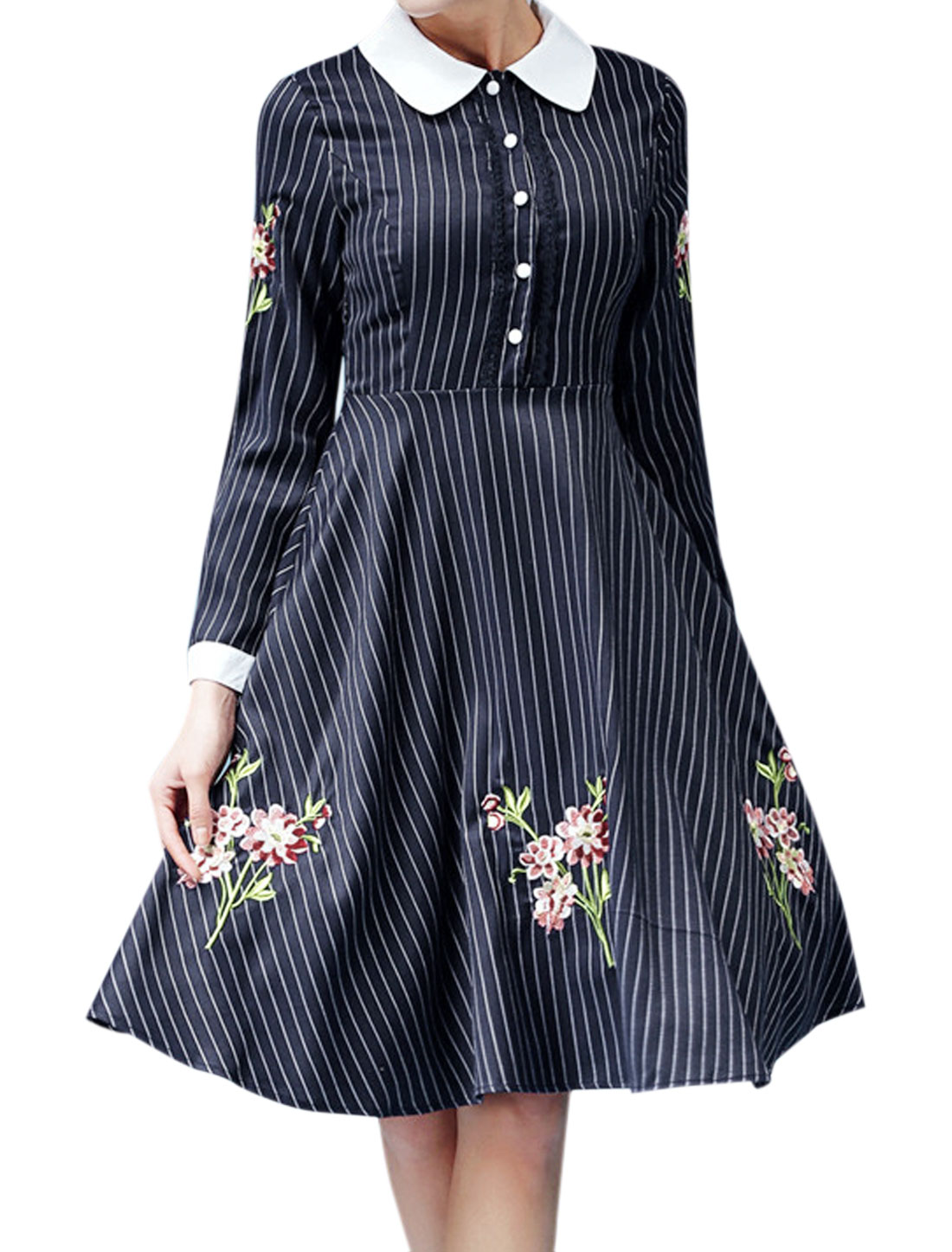 Women Point Collar Stripes Floral Embroidery Shirt Dress Blue M