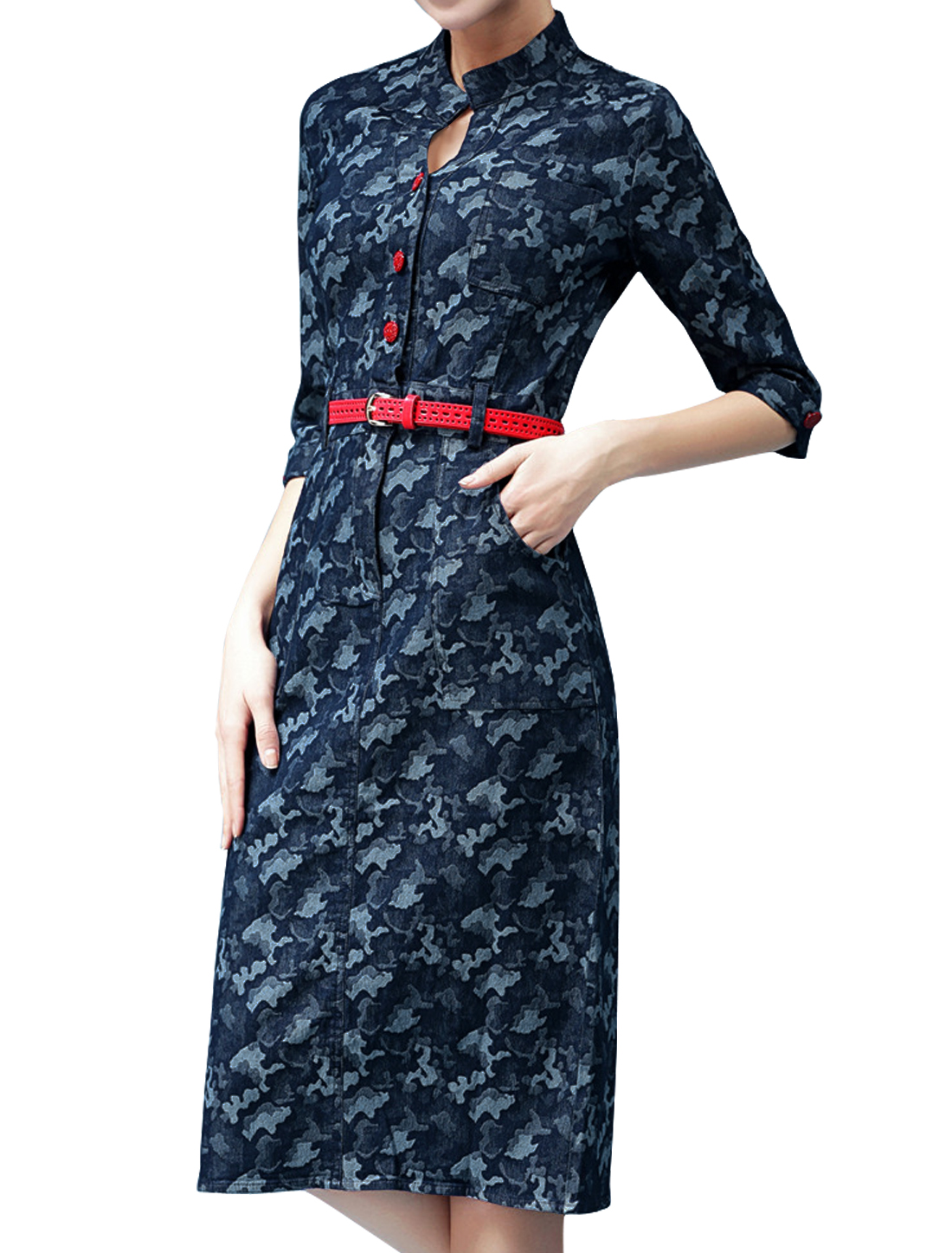 Women 3/4 Sleeves Novelty Prints Button Closure Denim Midi Dress w Belt Blue M