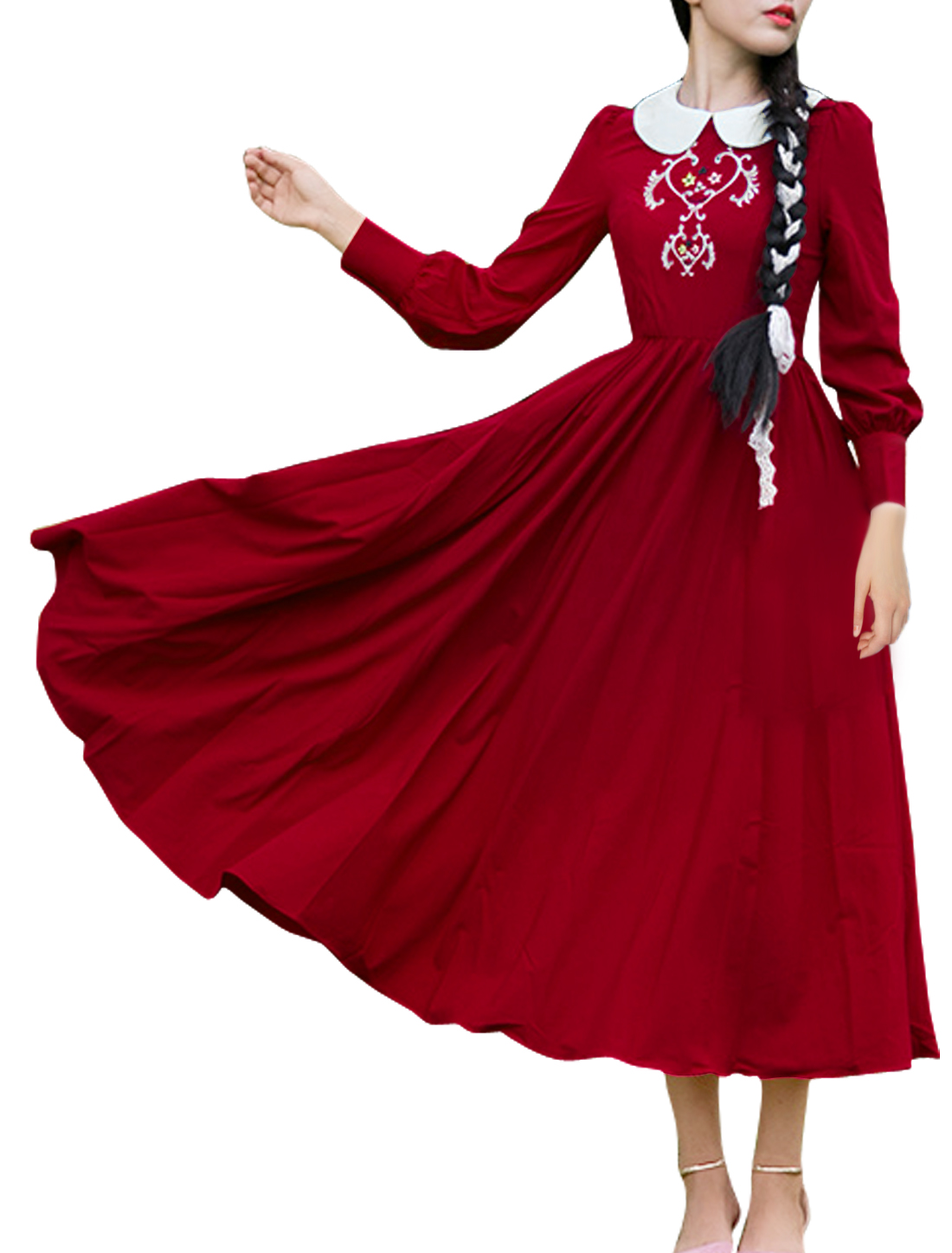 Women Peter Pan Collar Novelty Floral Embroidered A Line Long Dress Red M