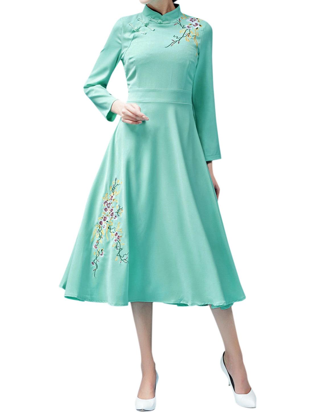 Women Mandarin Collar Bracelet Sleeves Floral Embroidered A Line Dress Green M