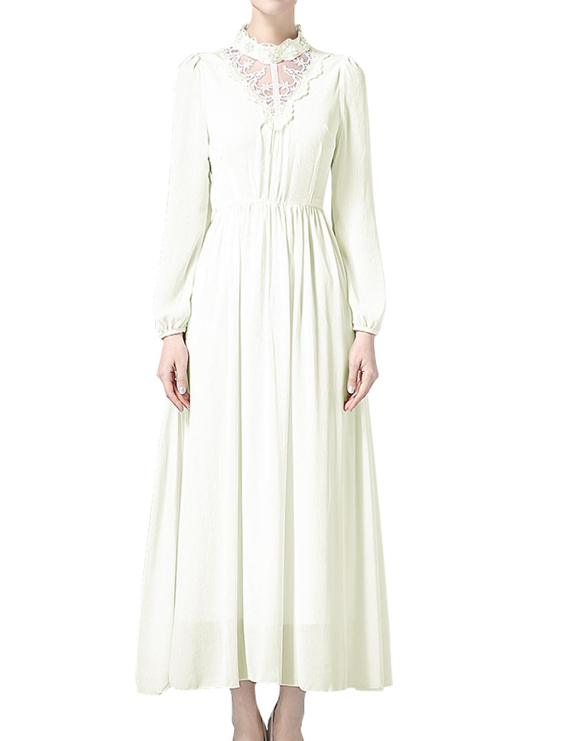 Lady Beaded Mock Neck Long Sleeves Crochet Mesh Panel Chiffon Maxi Dress White M