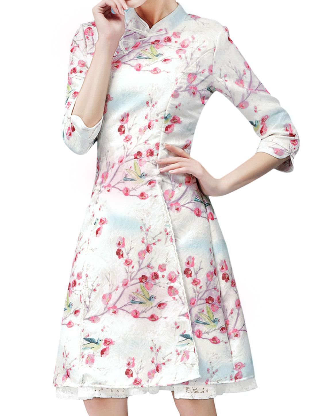 Women Mandarin Collar Floral Birds Print Lace Panel Split Hem Midi Dress White M