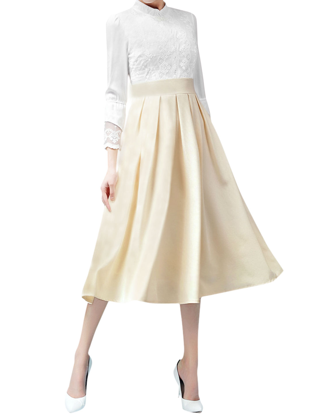 Women Bracelet Sleeves Chiffon Lace Panel Pleated A Line Dress Beige M