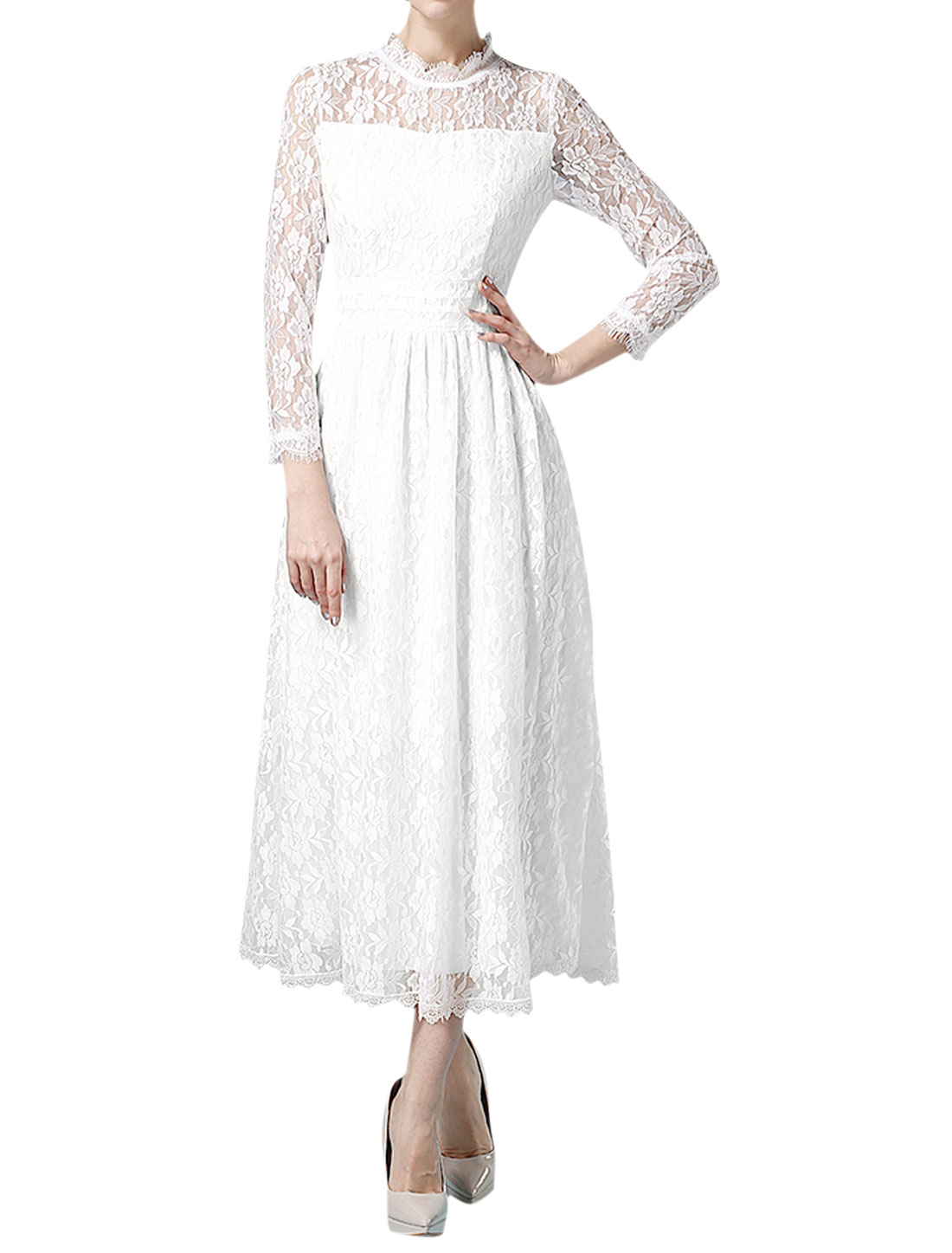 Women Scalloped Neck Bracelet Sleeves Floral Design Lace Dress White M