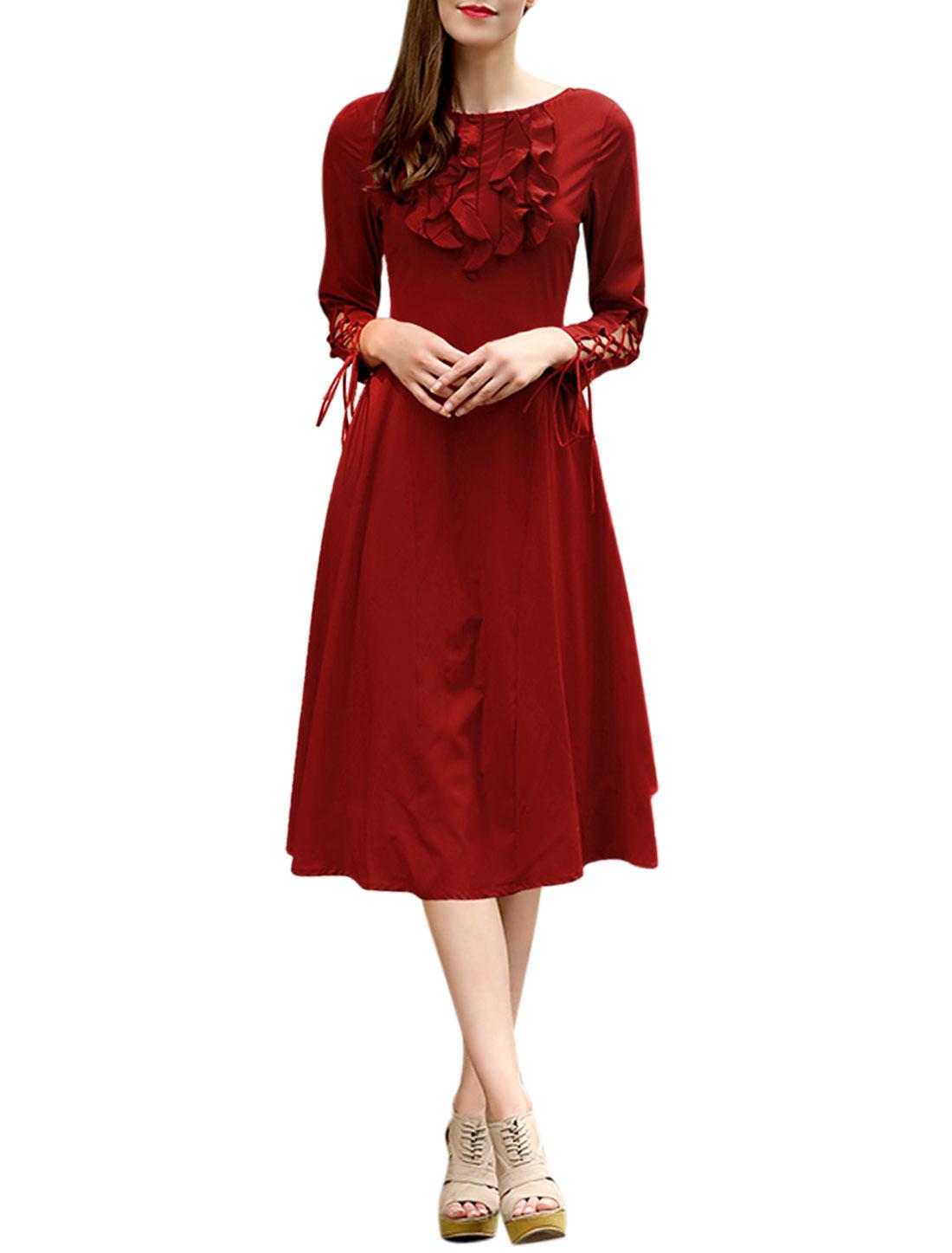 Women Bracelet Sleeves Drawstring Cuffs Ruffled Upper A Line Dress Red M