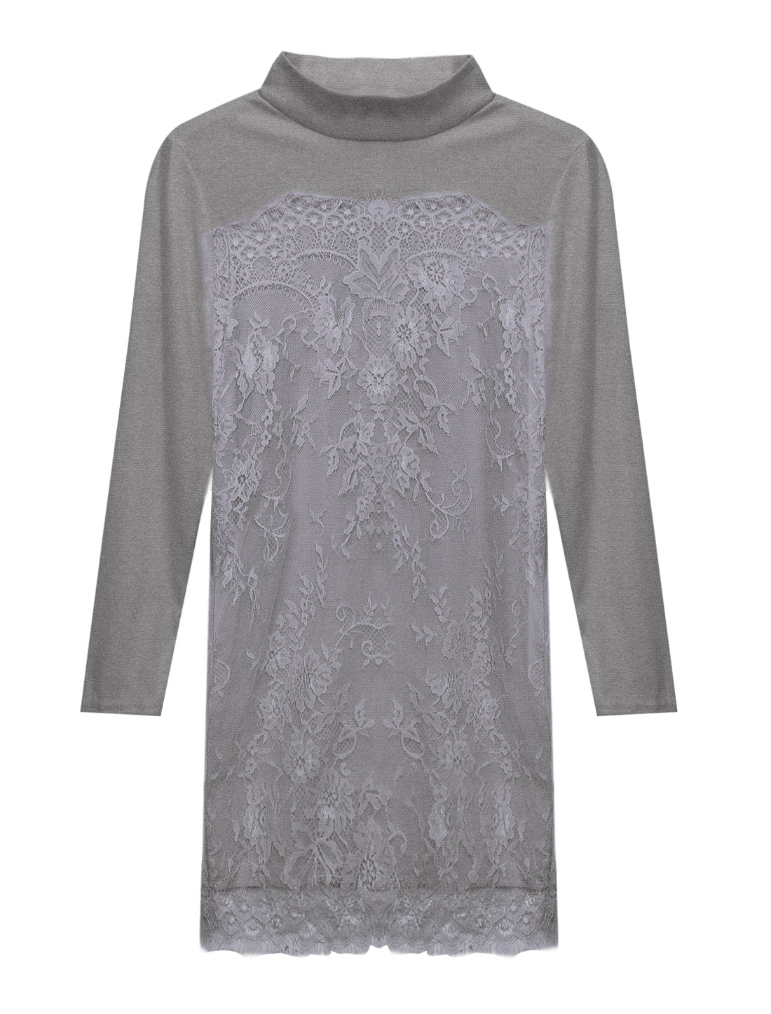 Women Long Sleeves Panel Design Unlined Lace Casual Dress Gray XS