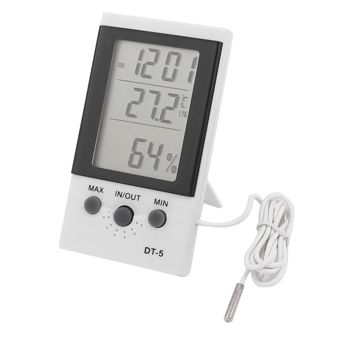 11 x 6 x 2cm White Plastic LCD Digital IN/OUT Thermometer w Indoor Hygrometer