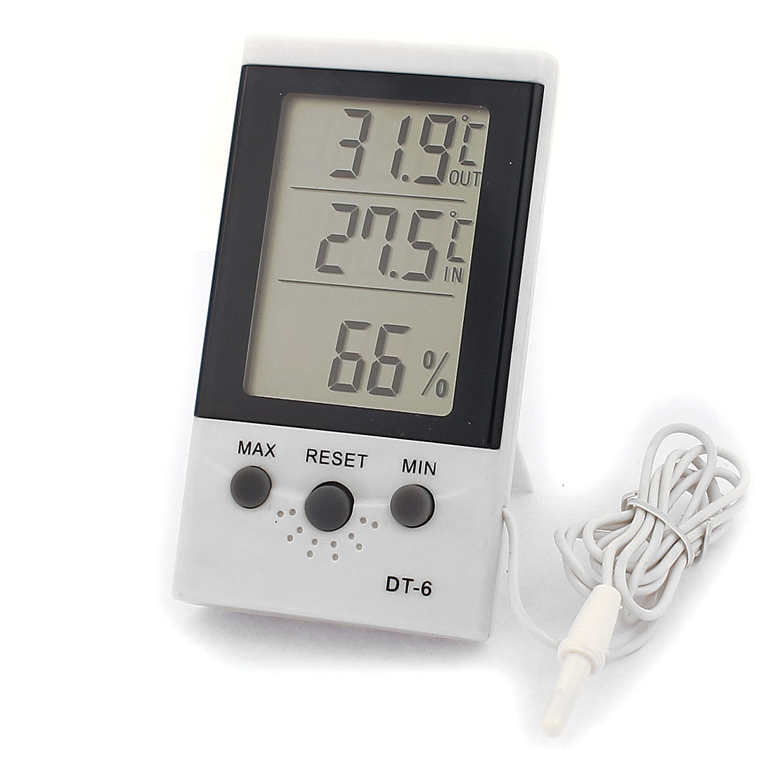 DT-6 Plastic LCD Digital IN/OUT Thermometer w Indoor Hygrometer White