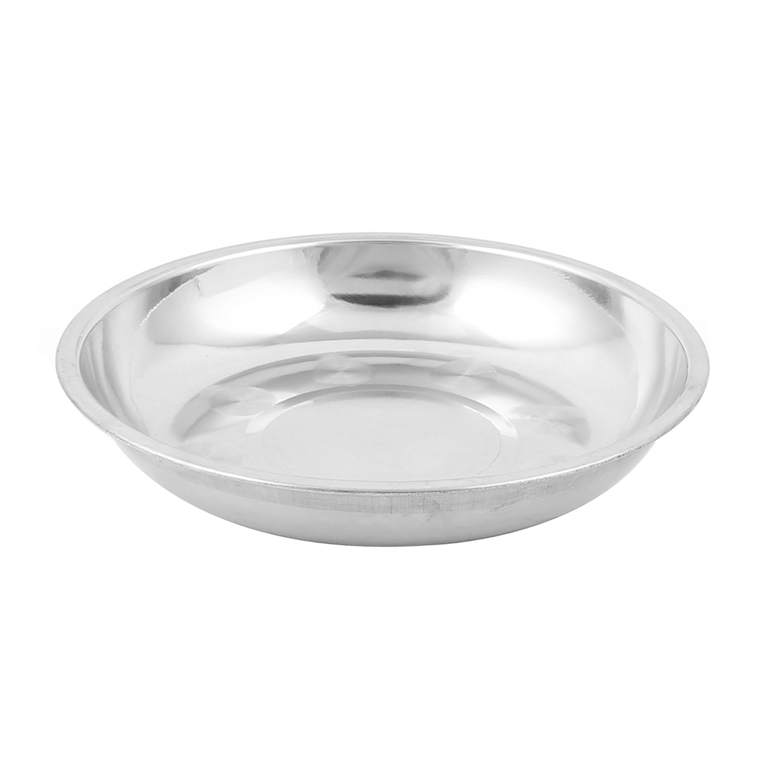 "18cm/7.1"" Dias Strainless Steel Round Shaped Food Vegetables Dish Plate Silver Tone"